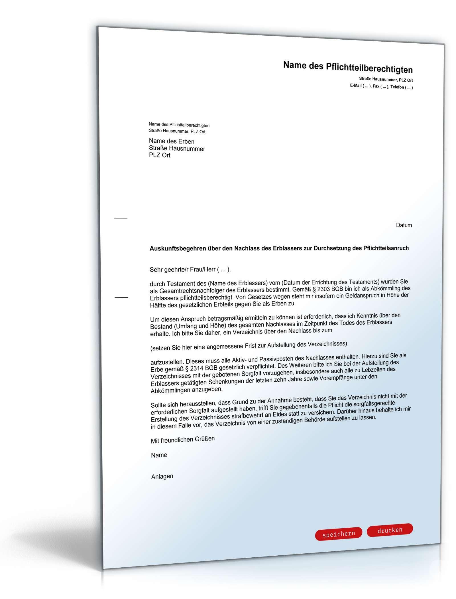 Auskunftsanspruch Pflichtteilsberechtigten Gegen Den Erben Muster Zum Download