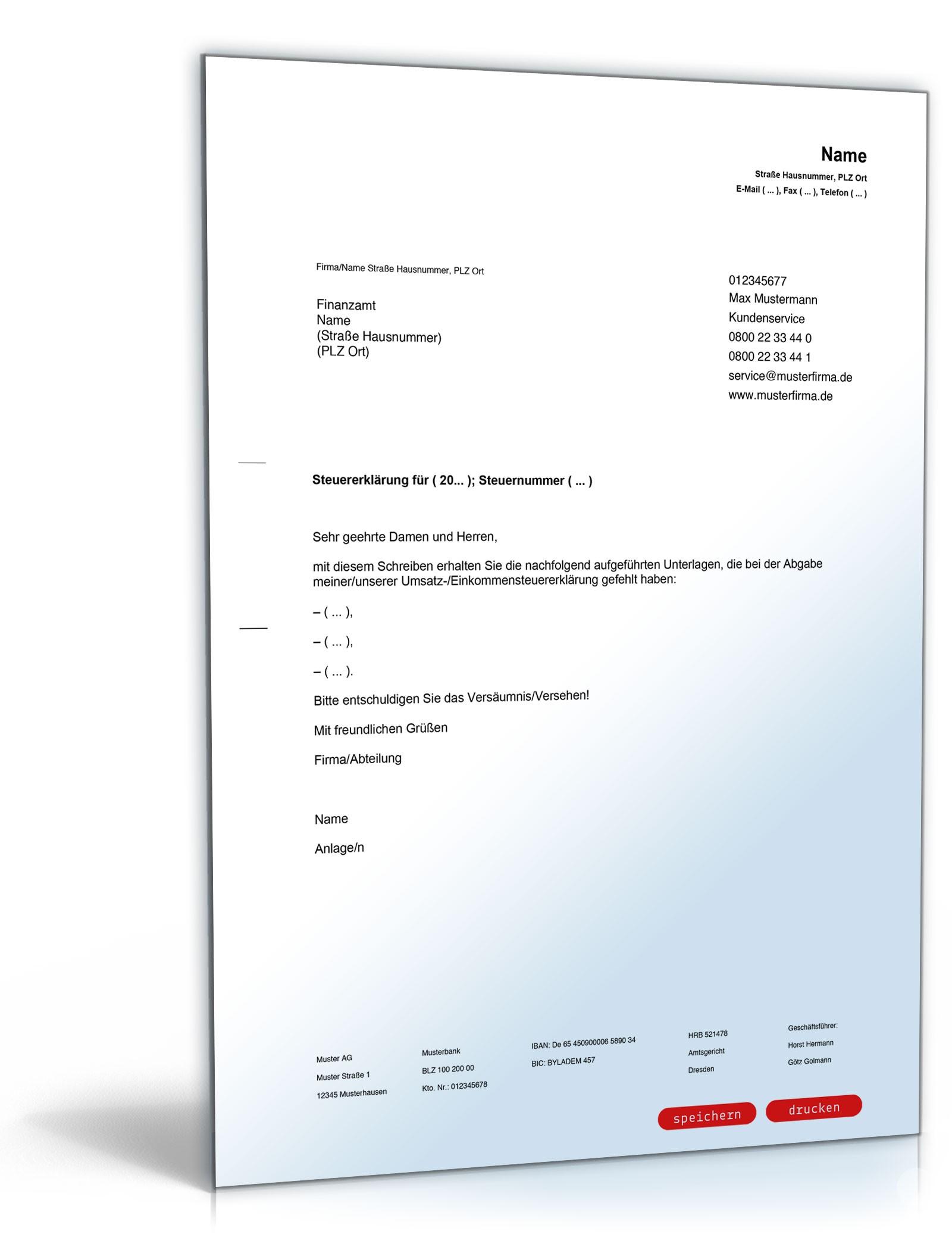 Begleitschreiben Zur Steuererklärung Vorlage Zum Download