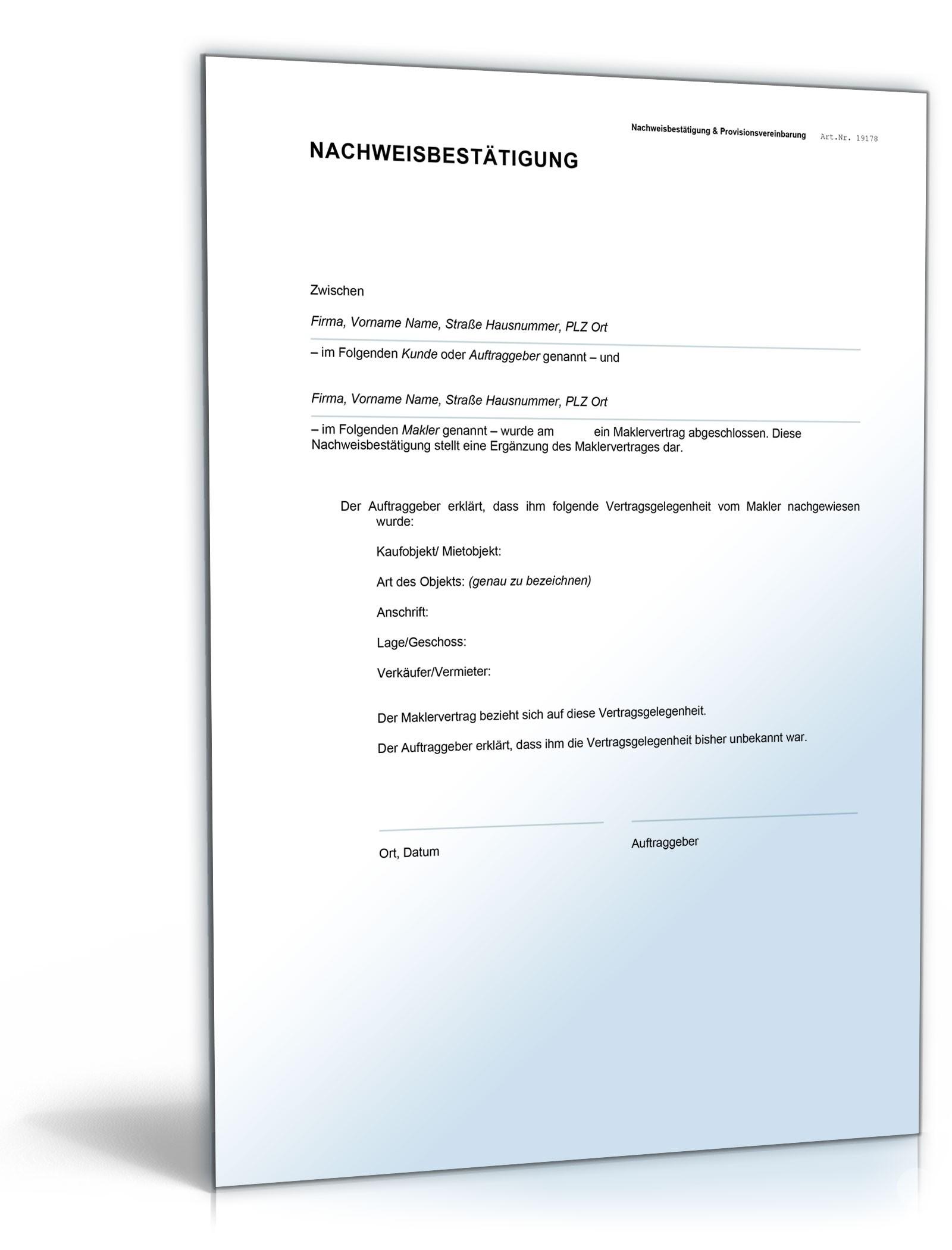 nachweisbesttigung makler und mieter vorlage zum download - Provisionsvereinbarung Muster