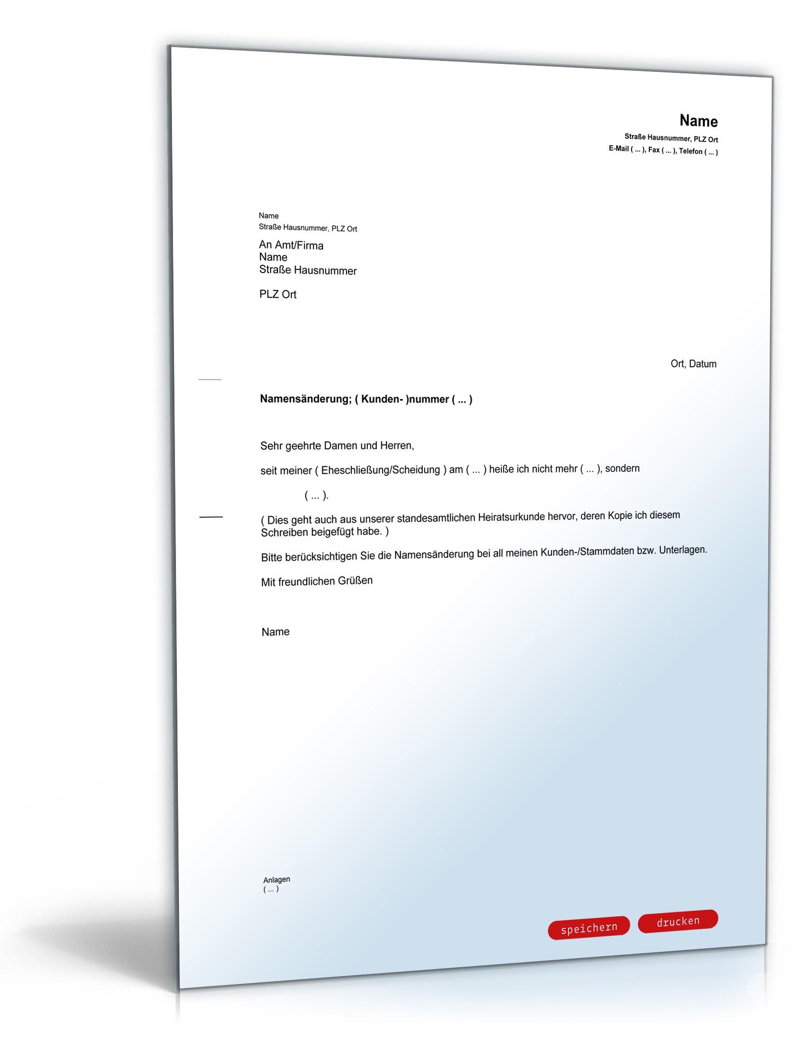 Mitteilung Namensänderung Vorlage Zum Download