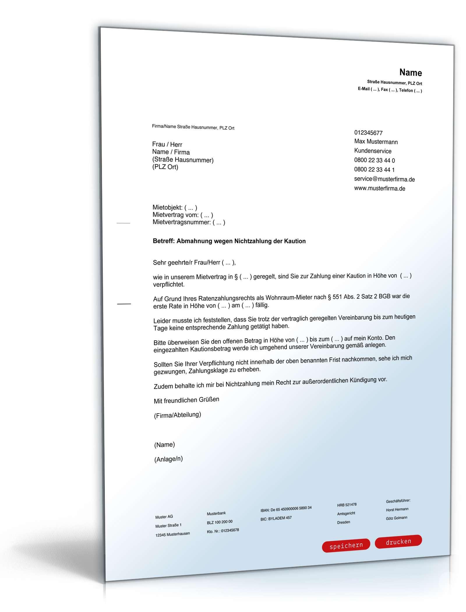 Abmahnung Mieter Nichtzahlung Kaution Vorlage Zum Download