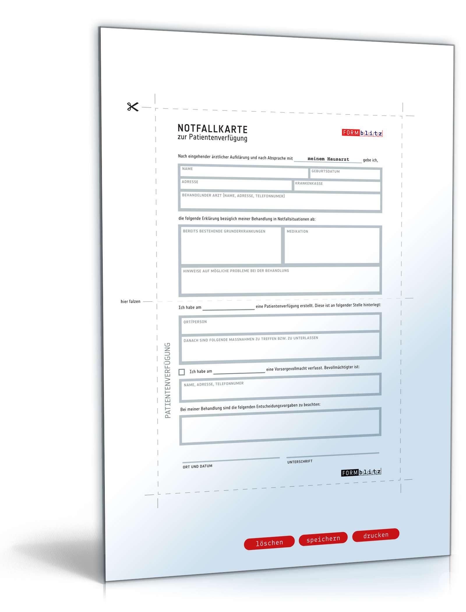 Notfallkarte Patientenverfügung | Vorlage zum Download