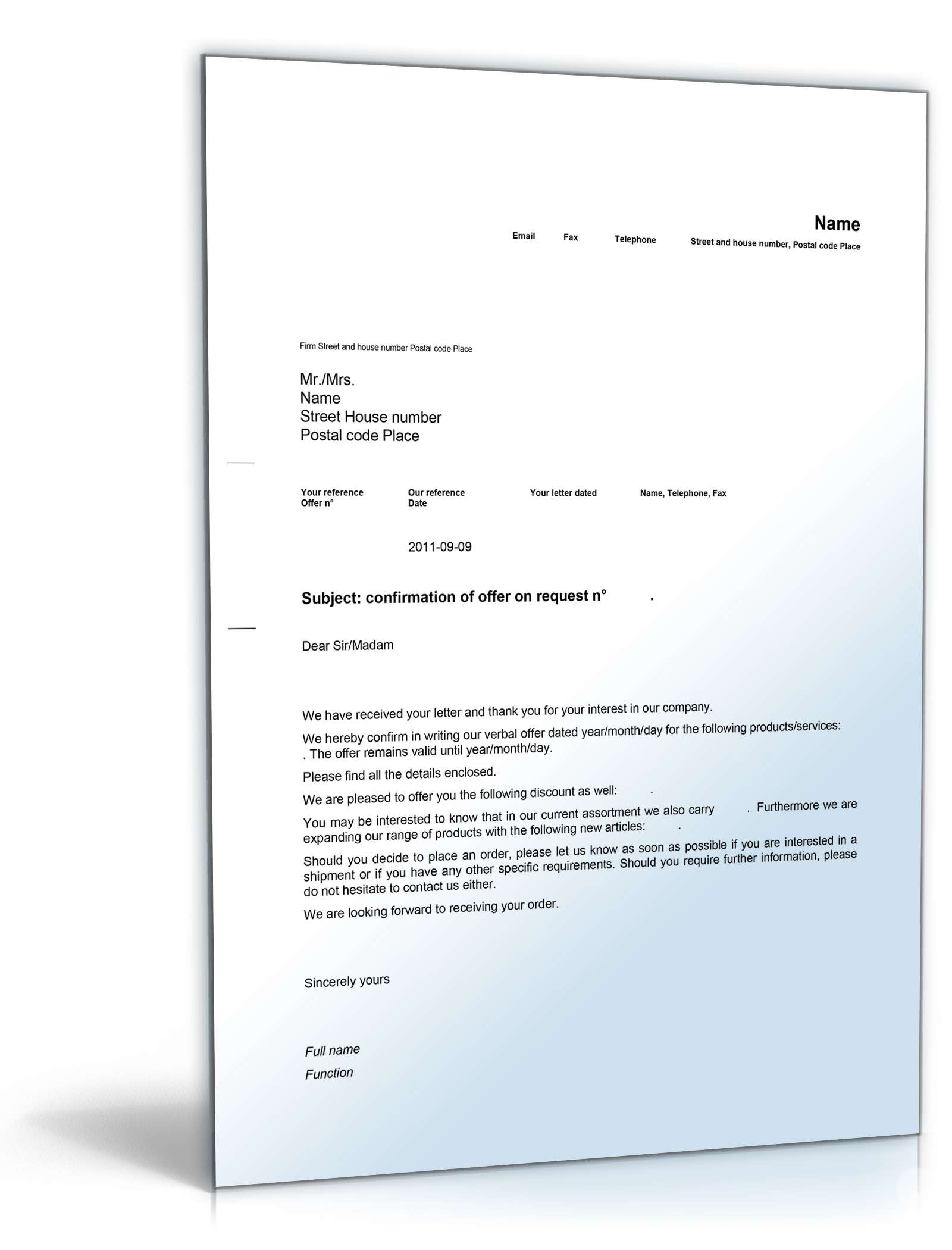 Geschäftsbrief Angebot Auf Anfrage Englisch Muster Zum Download