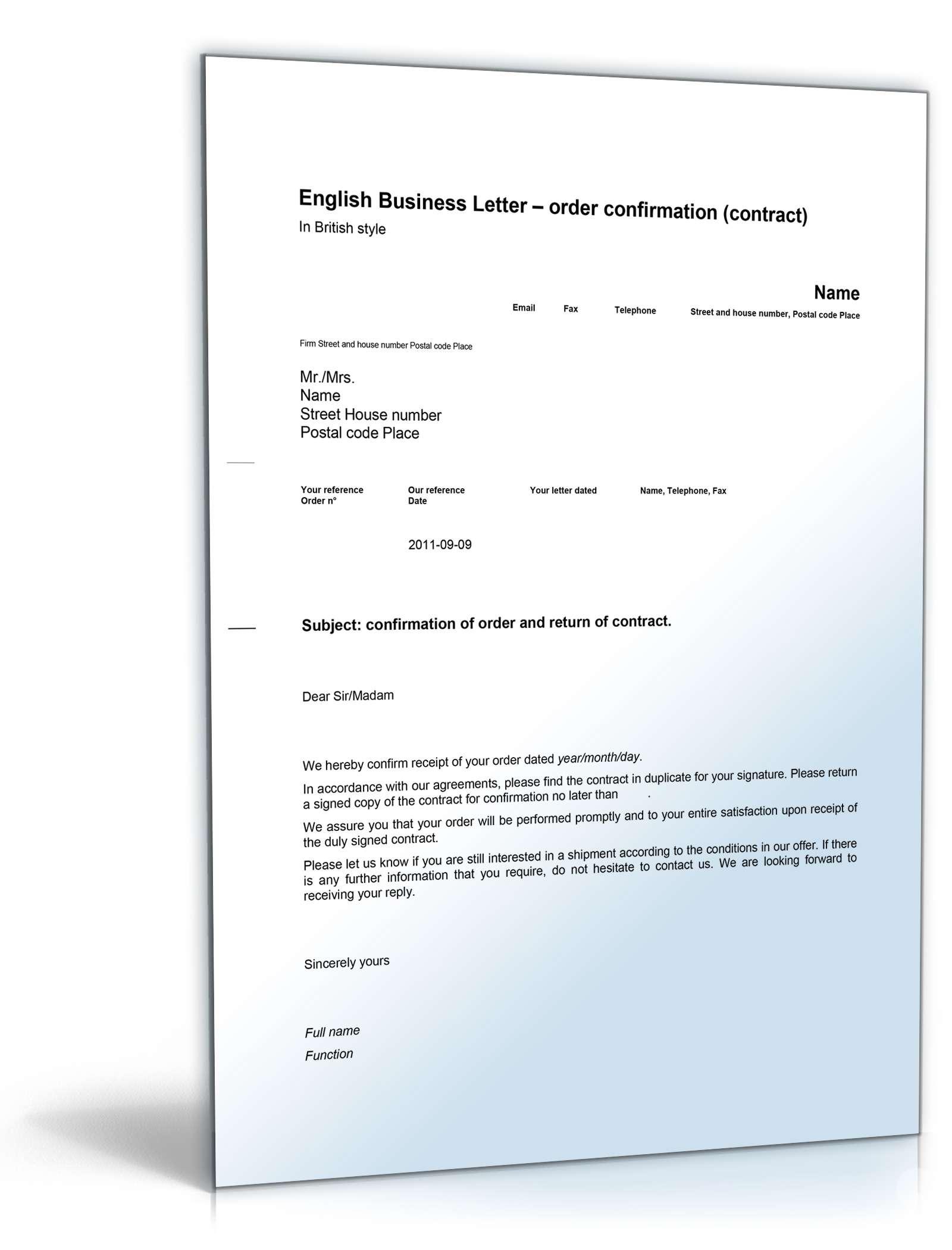Musterbriefe Geschäftsbriefe : Auftragsbestätigung auf englisch order confirmation