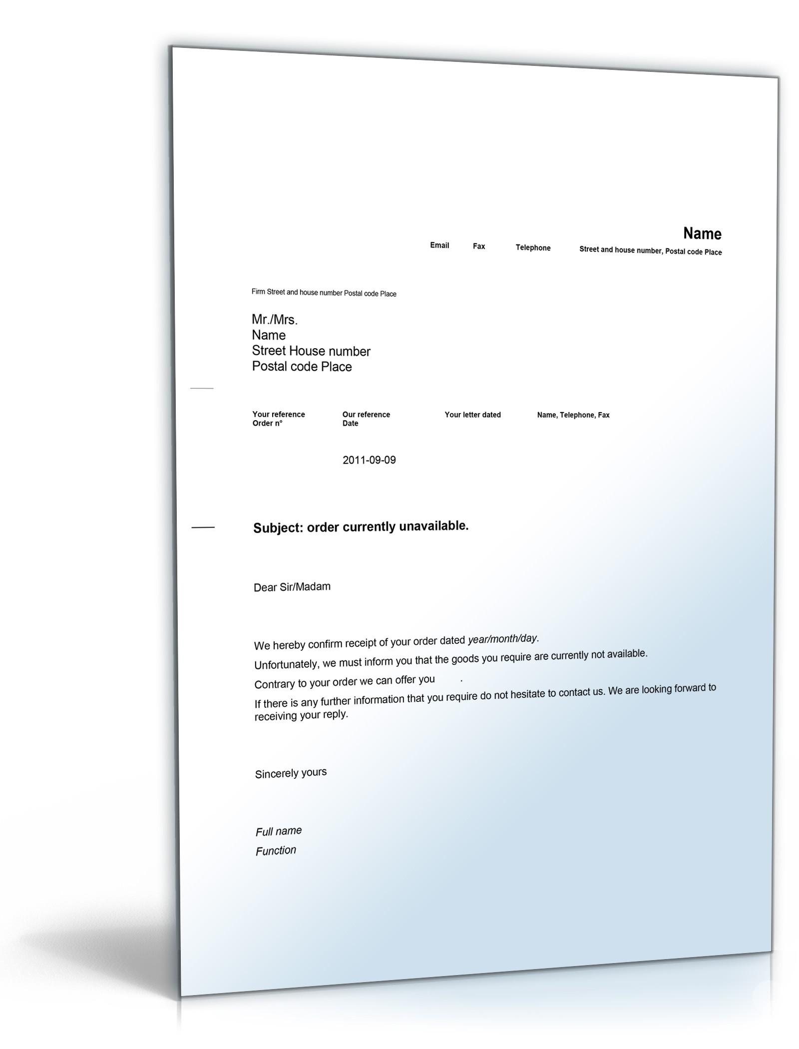 Ablehnung Eines Auftrages Englisch Muster Sofort Zum Download
