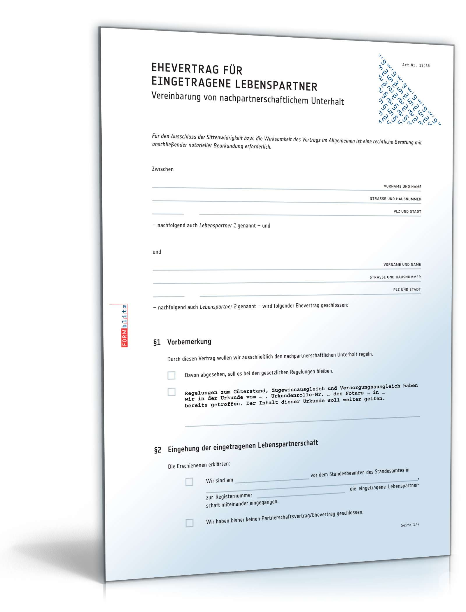 Ehevertrag Eingetragene Lebenspartner Muster Zum Download