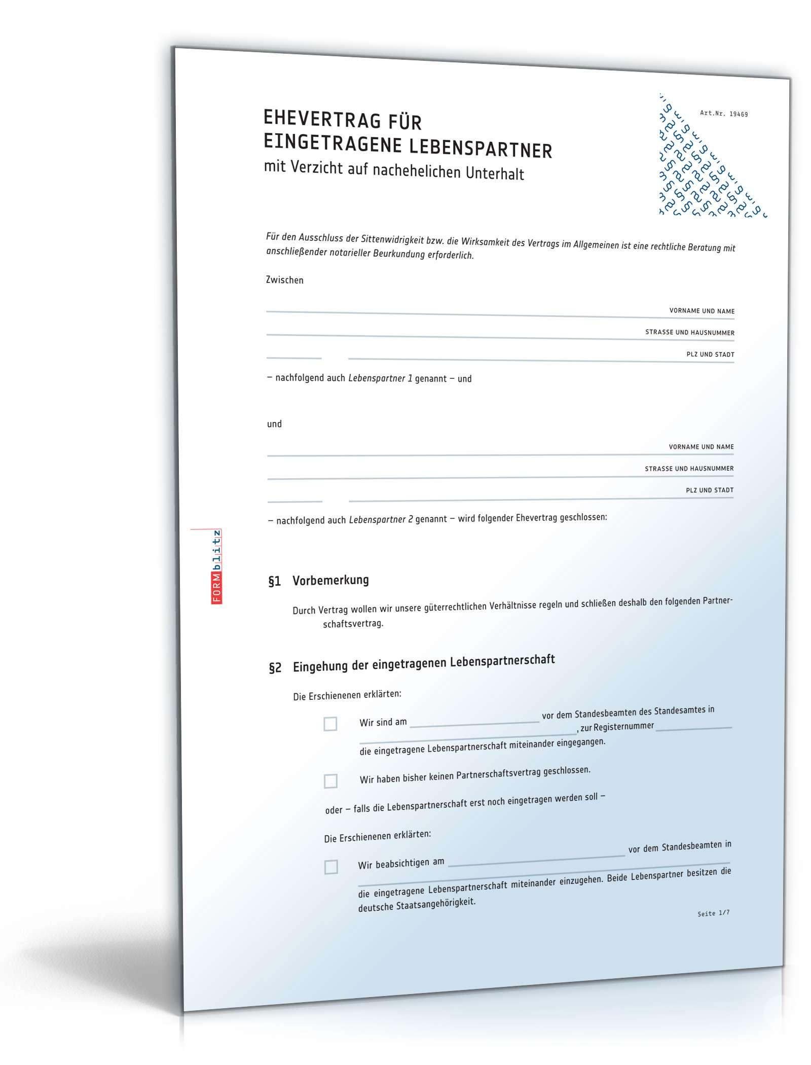 Ehevertrag Eingetragene Lebenspartnerschaft Vorlage Zum Download