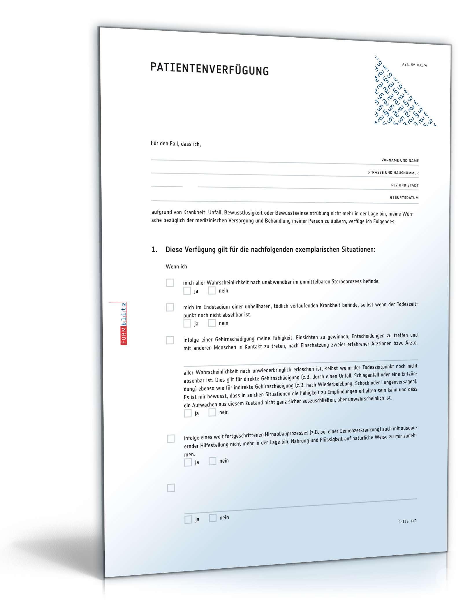 Patientenverfügung Muster Rechtssichere Vorlage Zum Download