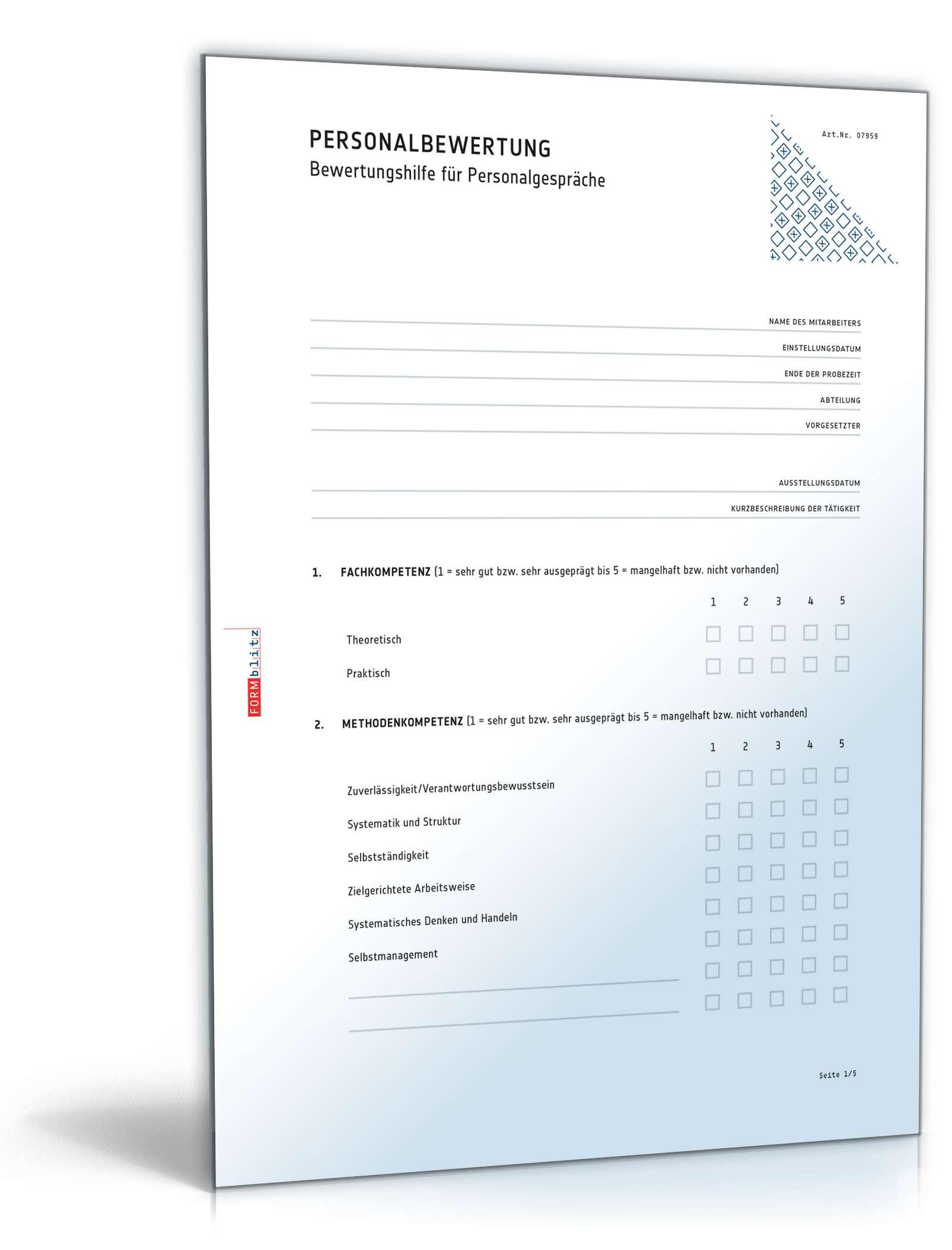 Musterbriefe Kostenlos Geschäftsbriefe : Mitarbeiterbeurteilung vorlage zum download