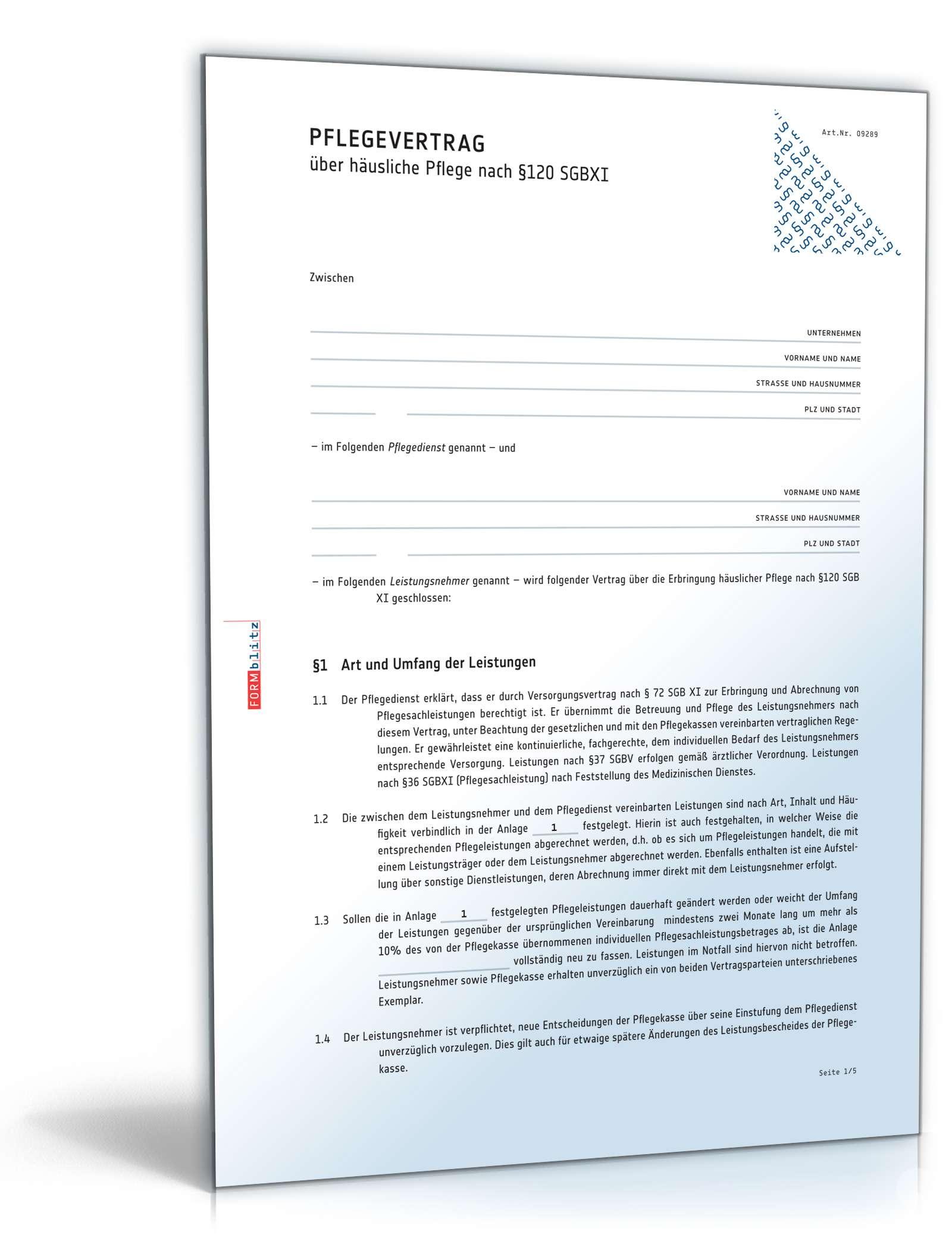 Pflegevertrag über häusliche Pflege | Muster zum Download