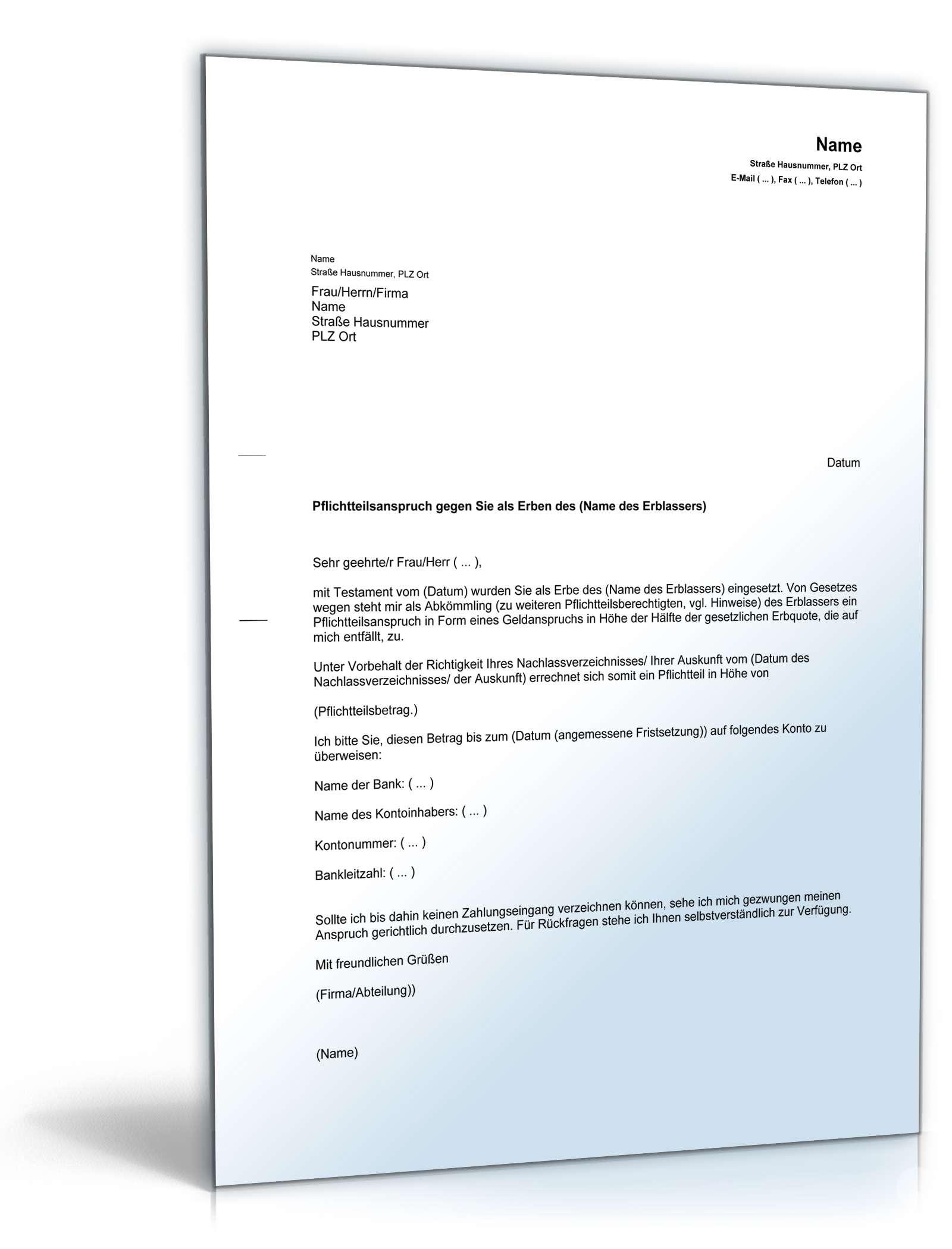 Pflichtteilsanspruch Gegen Den Erben Muster Vorlage Zum Download