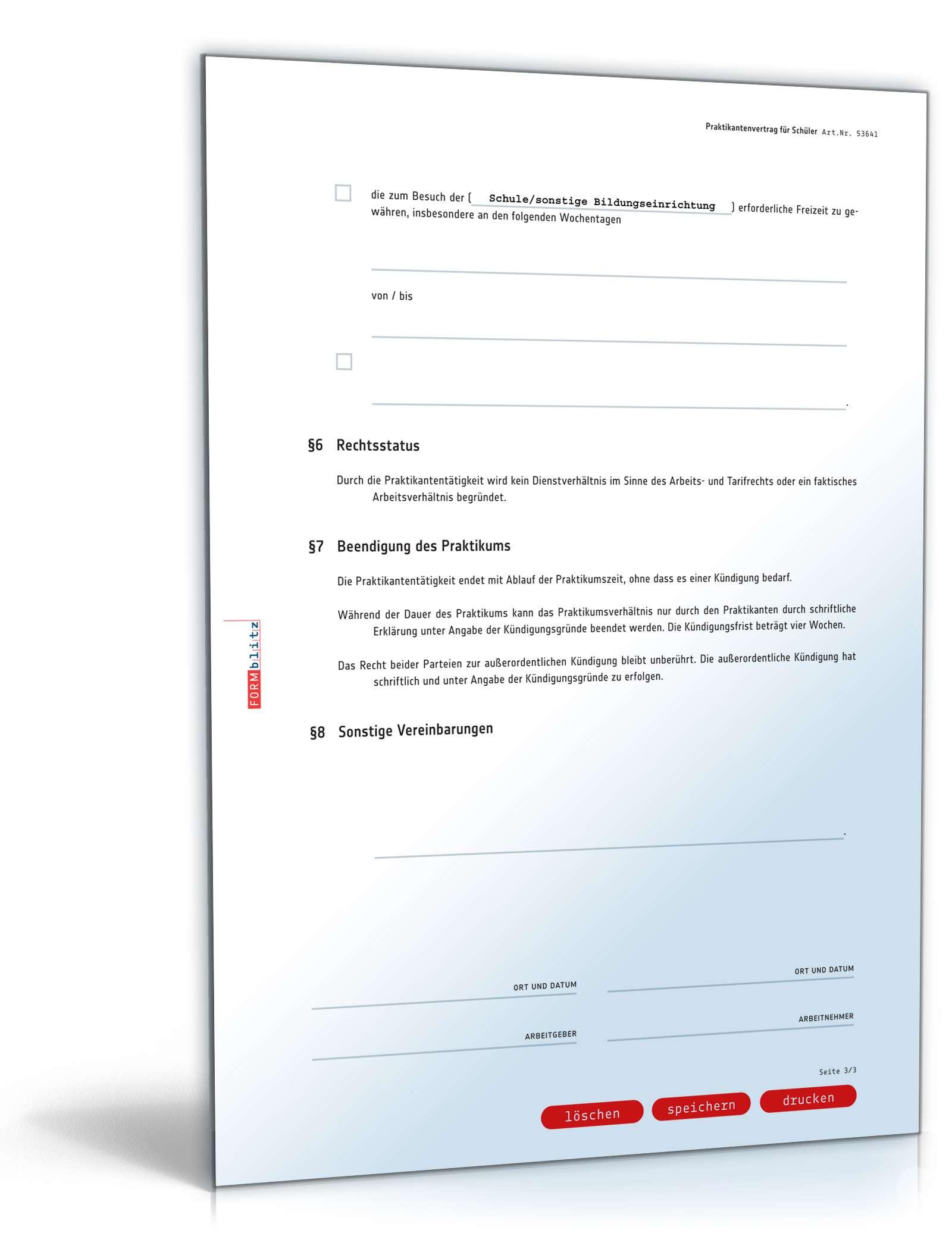 Praktikantenvertrag Schüler Muster Zum Download