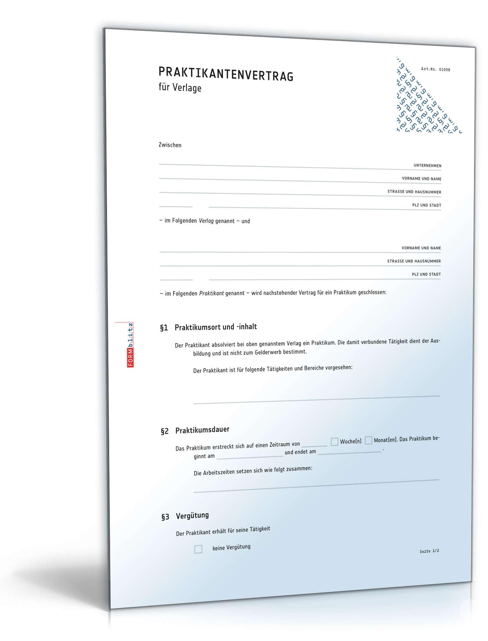 Praktikantenvertrag Verlag Muster Zum Download