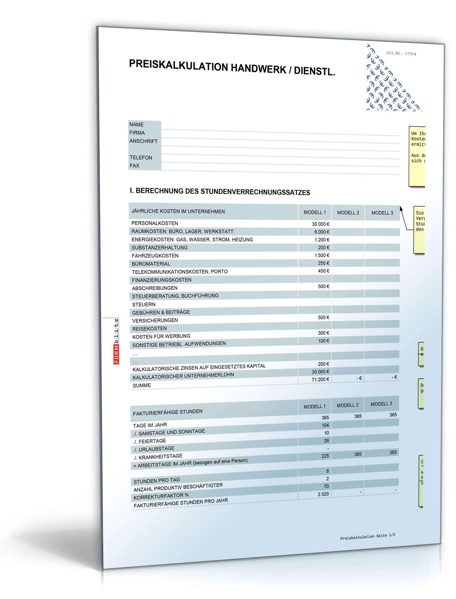 Excel Vorlage Preiskalkulation Fur Industrie Und Handwerk 0