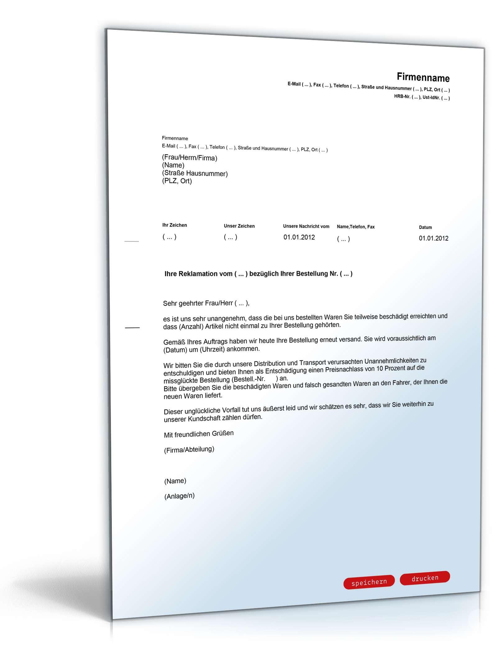 Musterbriefe Reklamationen Beantworten : Rabatt angebot nach reklamation englisch deutsch