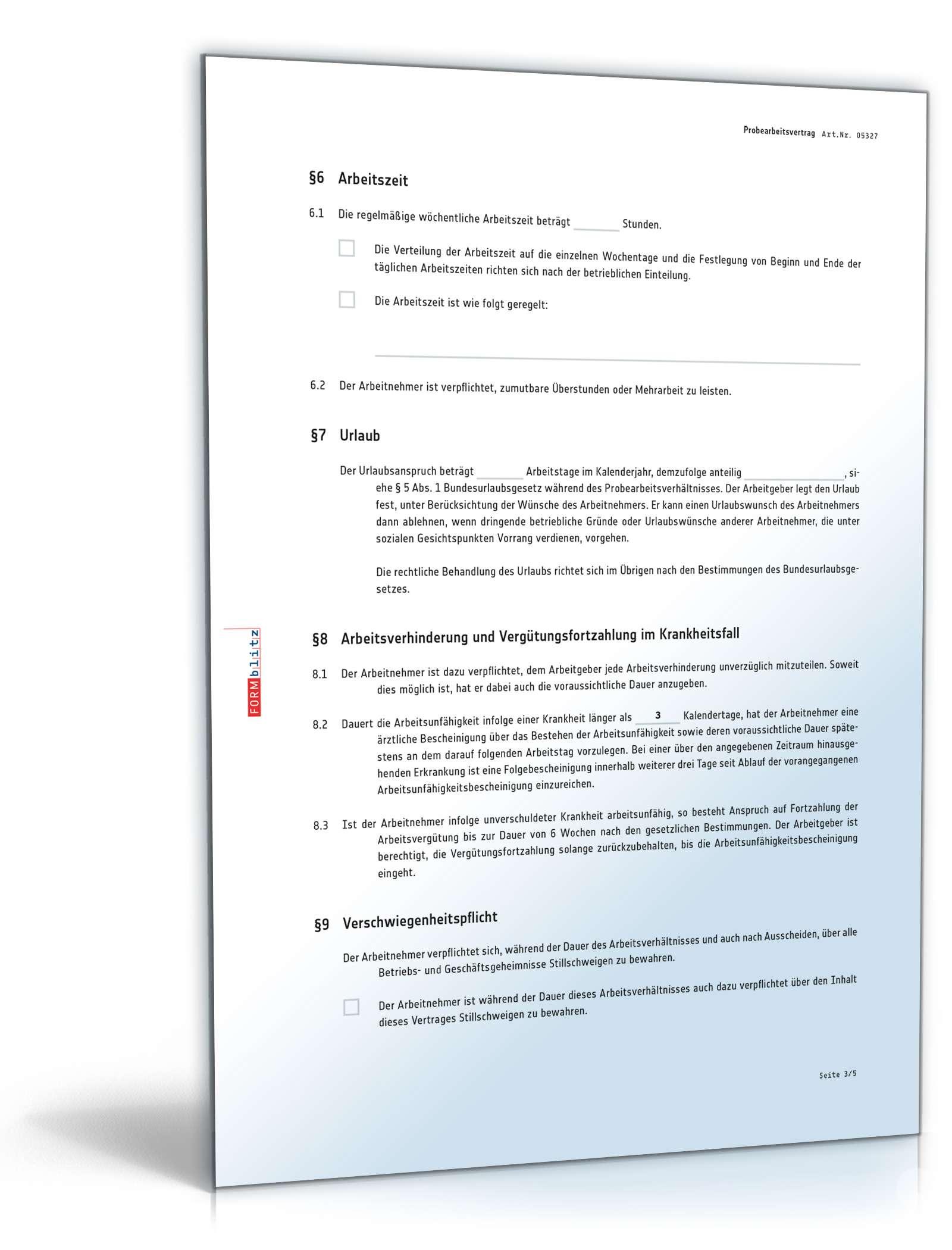 Probearbeitsvertrag Anwaltsgeprüftes Muster Zum Download