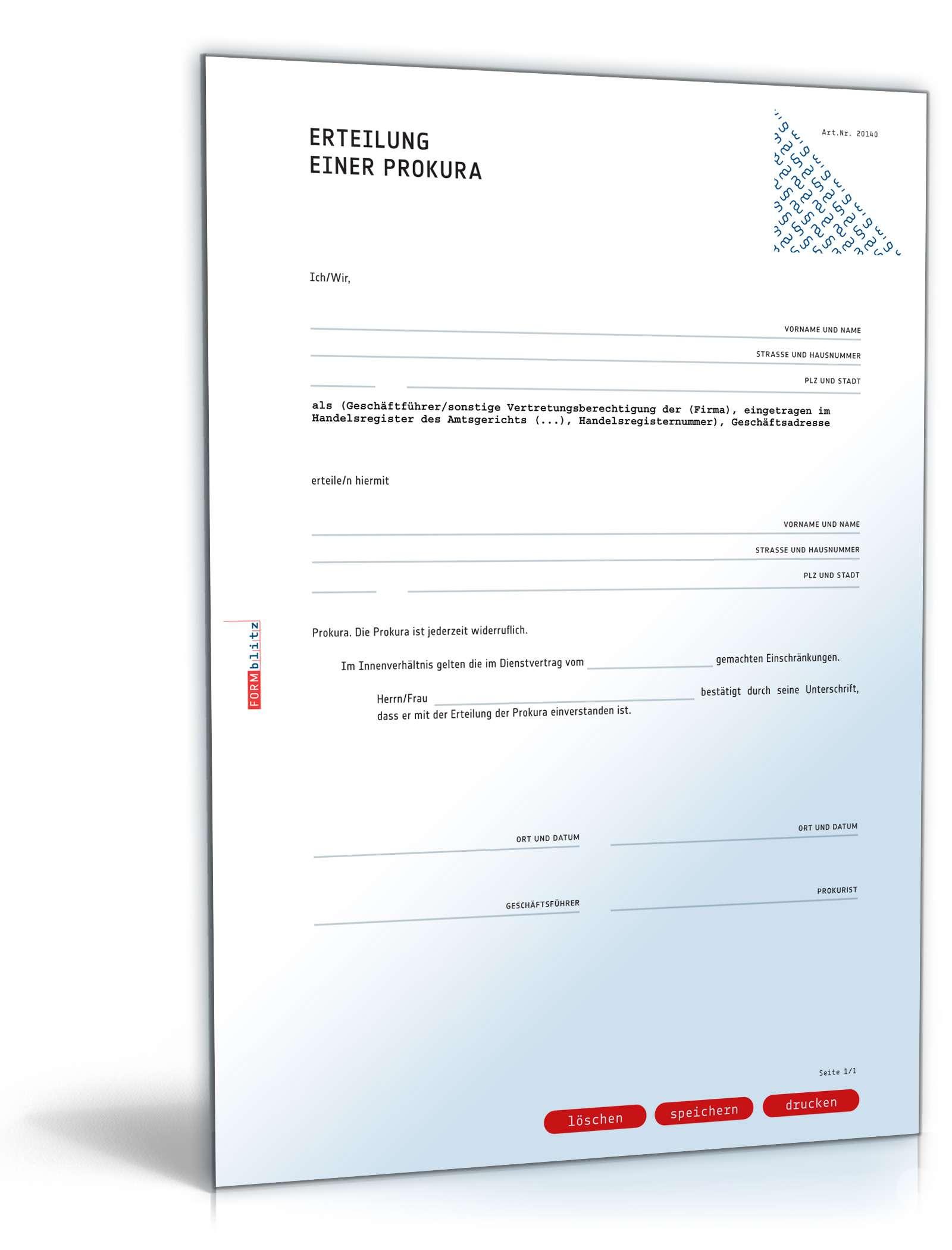 Prokura Muster Zum Download Formblitz