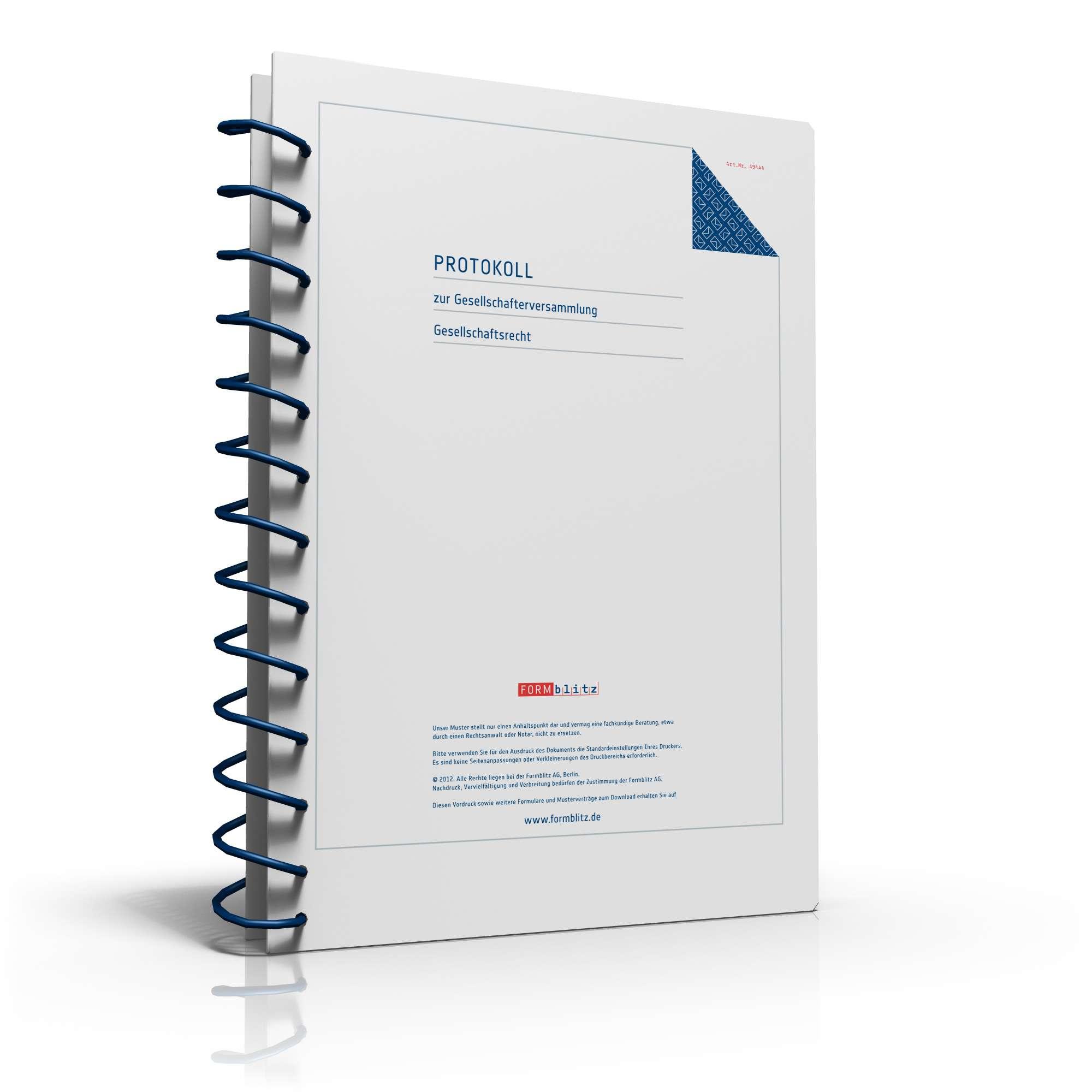 protokoll gesellschafterversammlung | vorlage zum download, Einladung