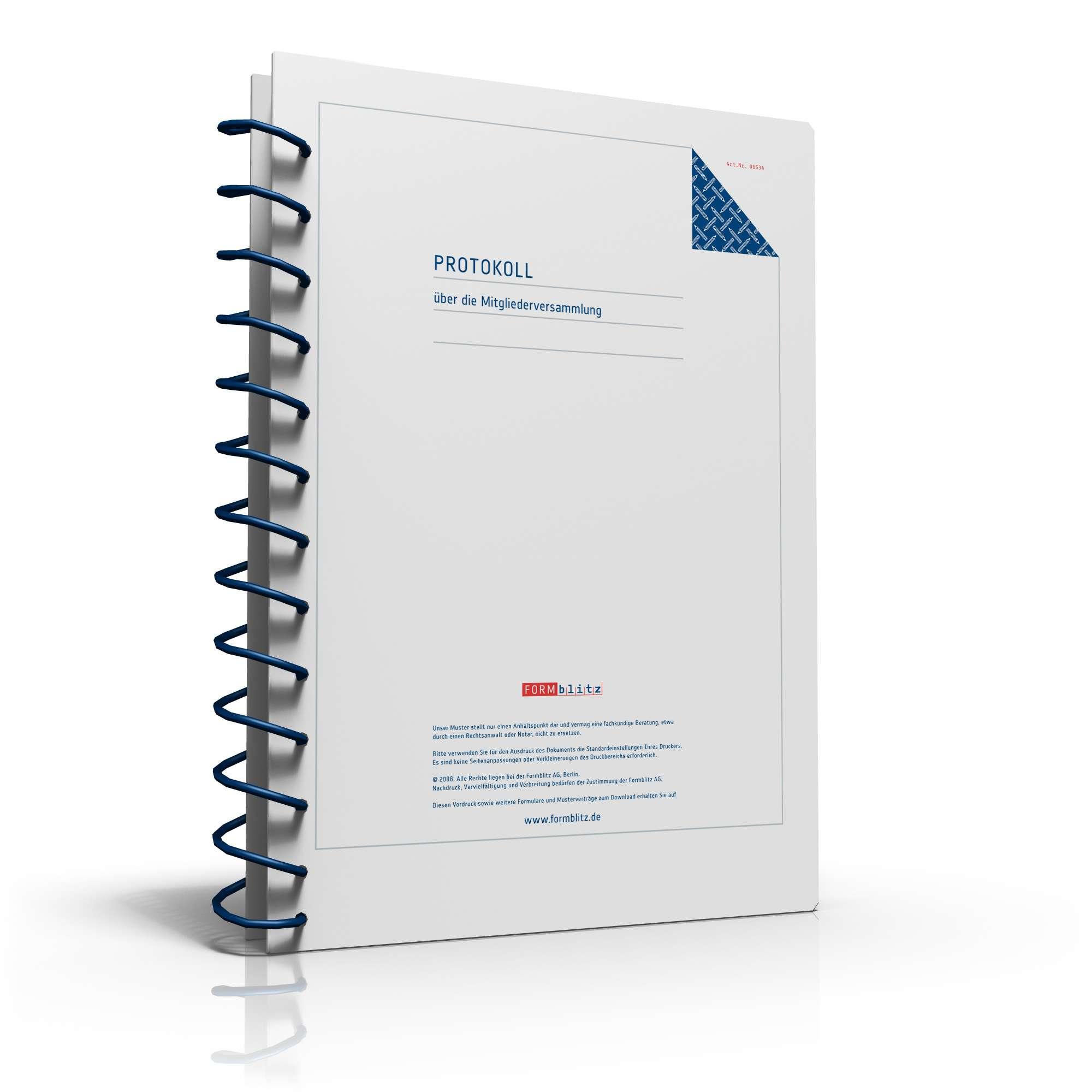 Protokoll Vereinsversammlung | Vorlage zum Download