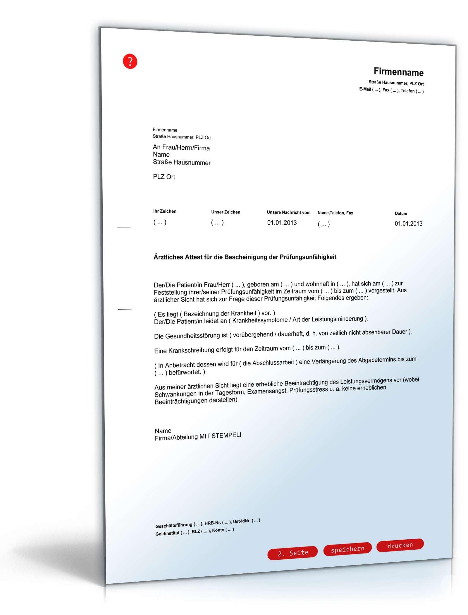 Prüfungsunfähigkeitsbescheinigung | Vorlage zum Download
