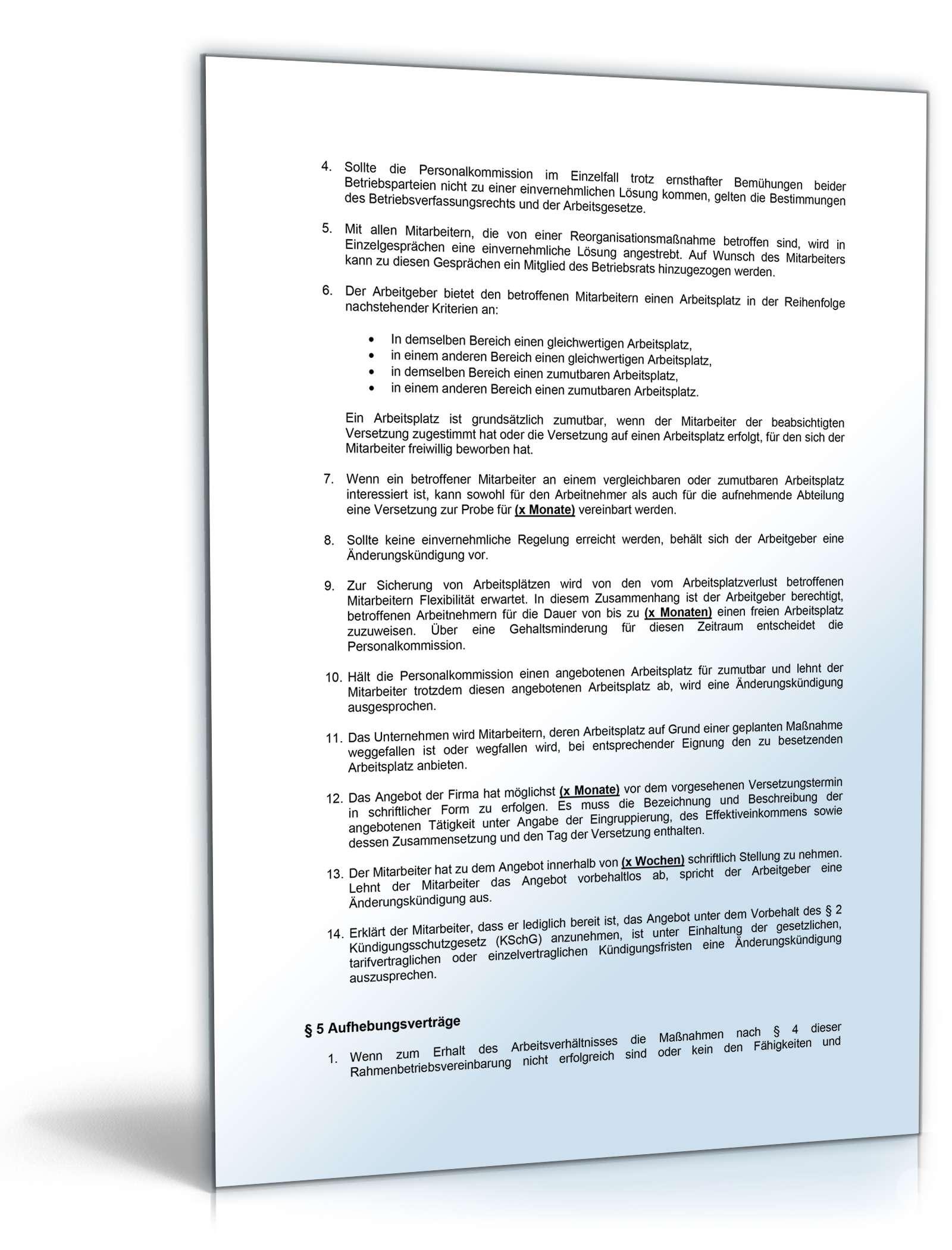 Betriebsvereinbarung Re Und Umstrukturierung Muster Vorlage Zum