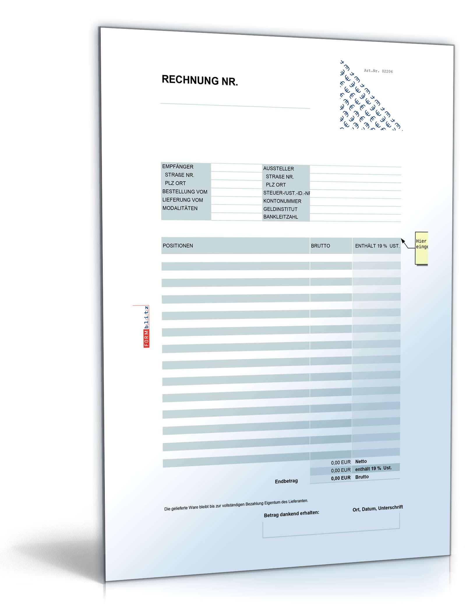Rechnung Brutto Umsatzsteuer Variabel Muster Zum Download
