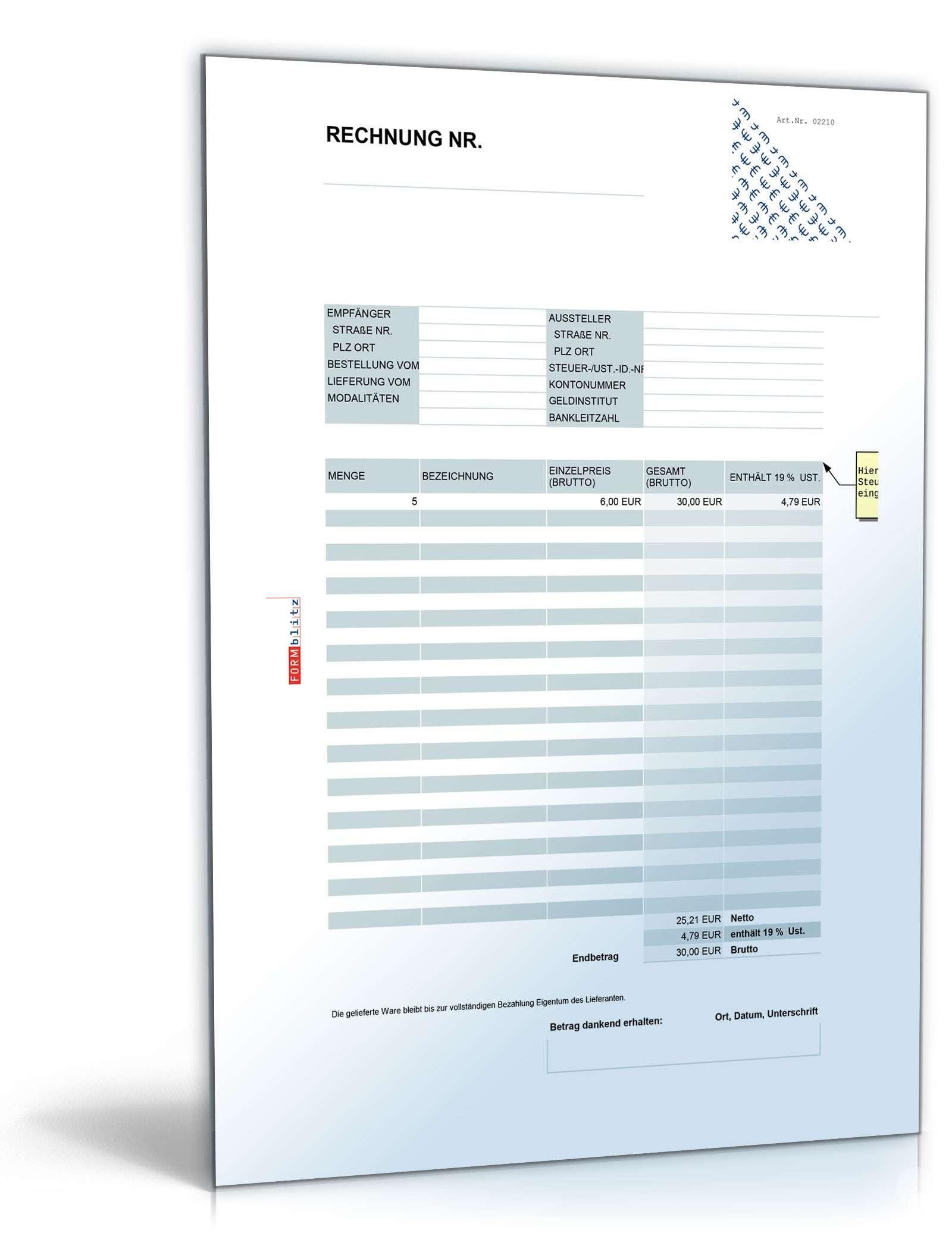 Rechnung Brutto Umsatzsteuer Einheitlich Muster Zum Download