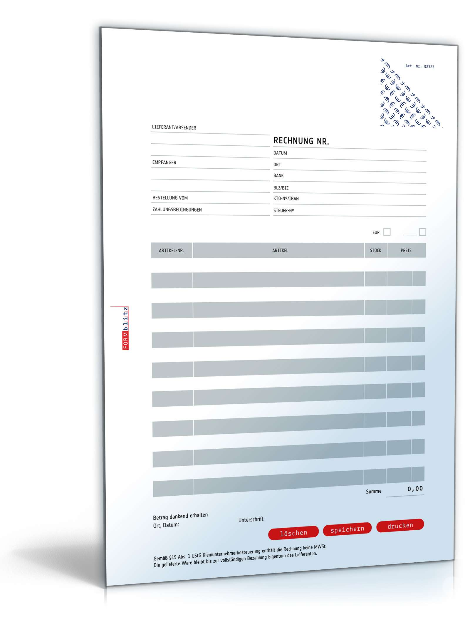 Rechnung Kleinunternehmer Ohne Mehrwertsteuer Muster Zum Download