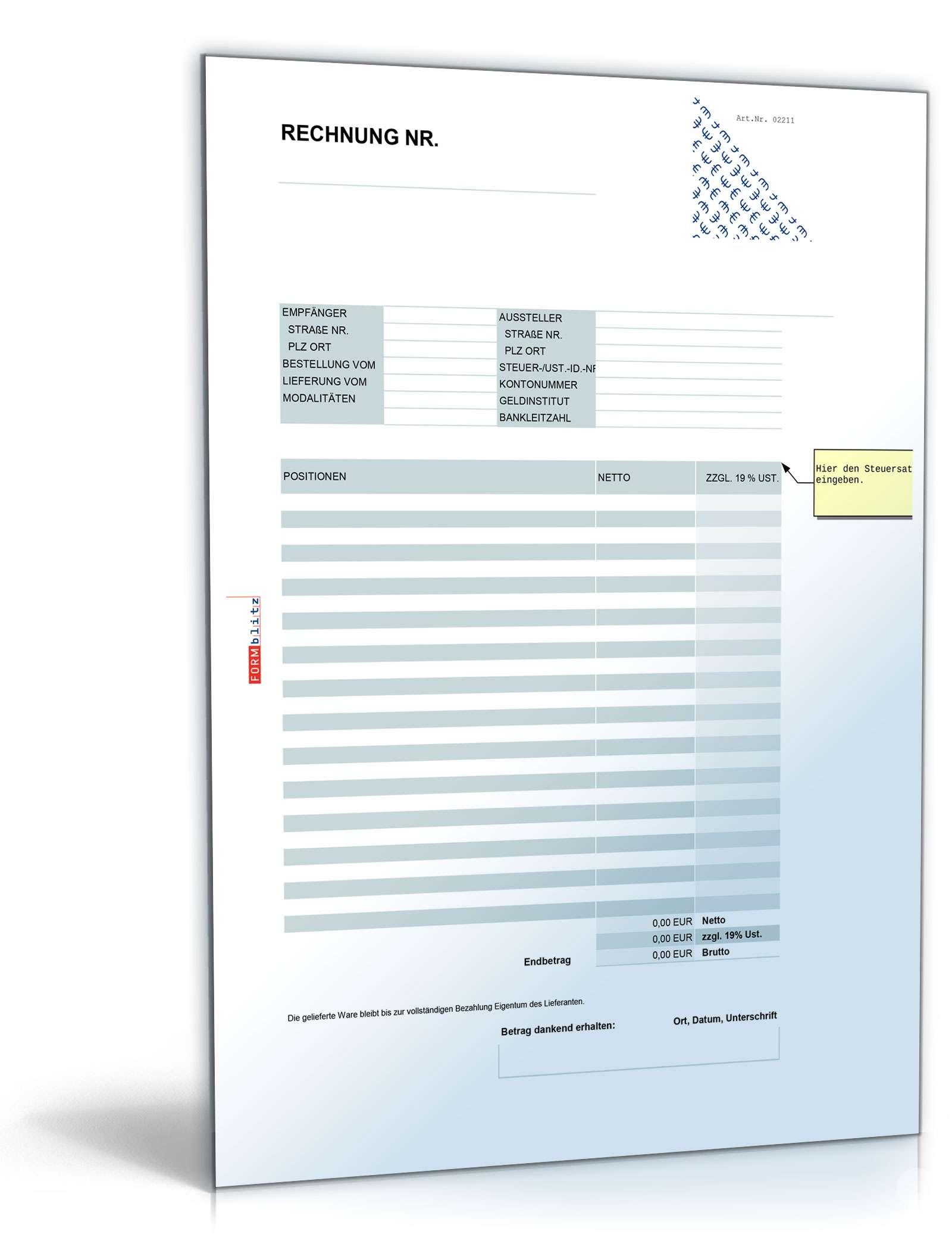 rechnung netto umsatzsteuer einheitlich muster zum download. Black Bedroom Furniture Sets. Home Design Ideas
