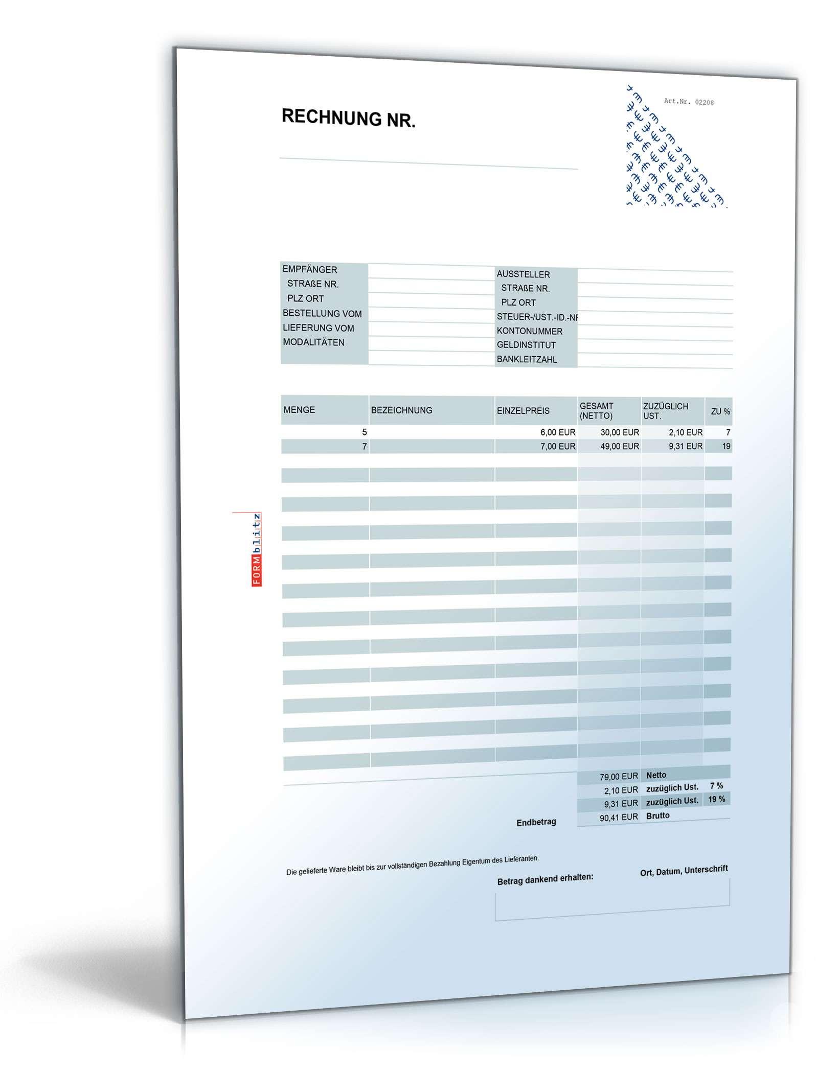 Rechnung Netto Umsatzsteuer Variabel Muster Zum Download