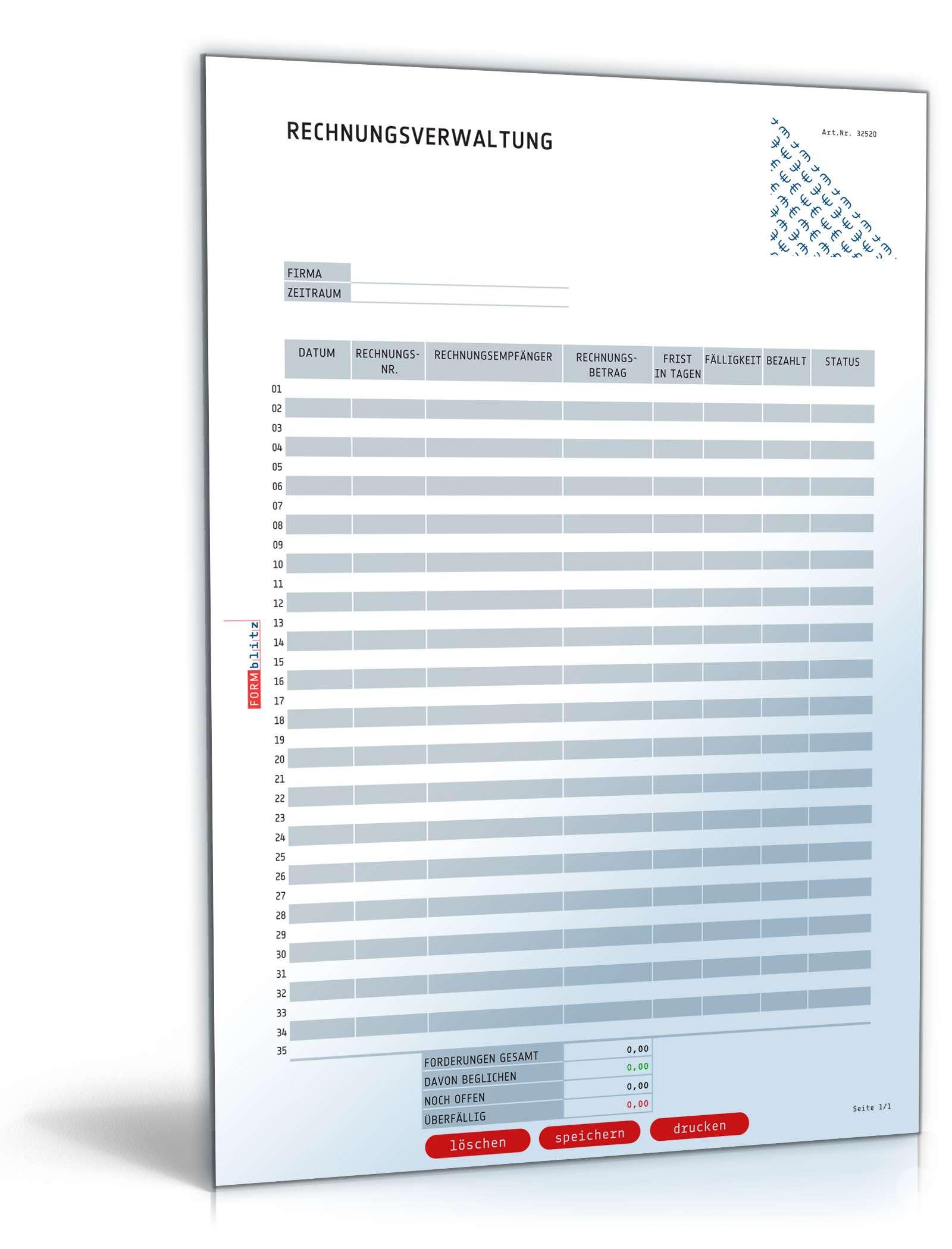 Rechnungsverwaltung   Vorlage zum Download