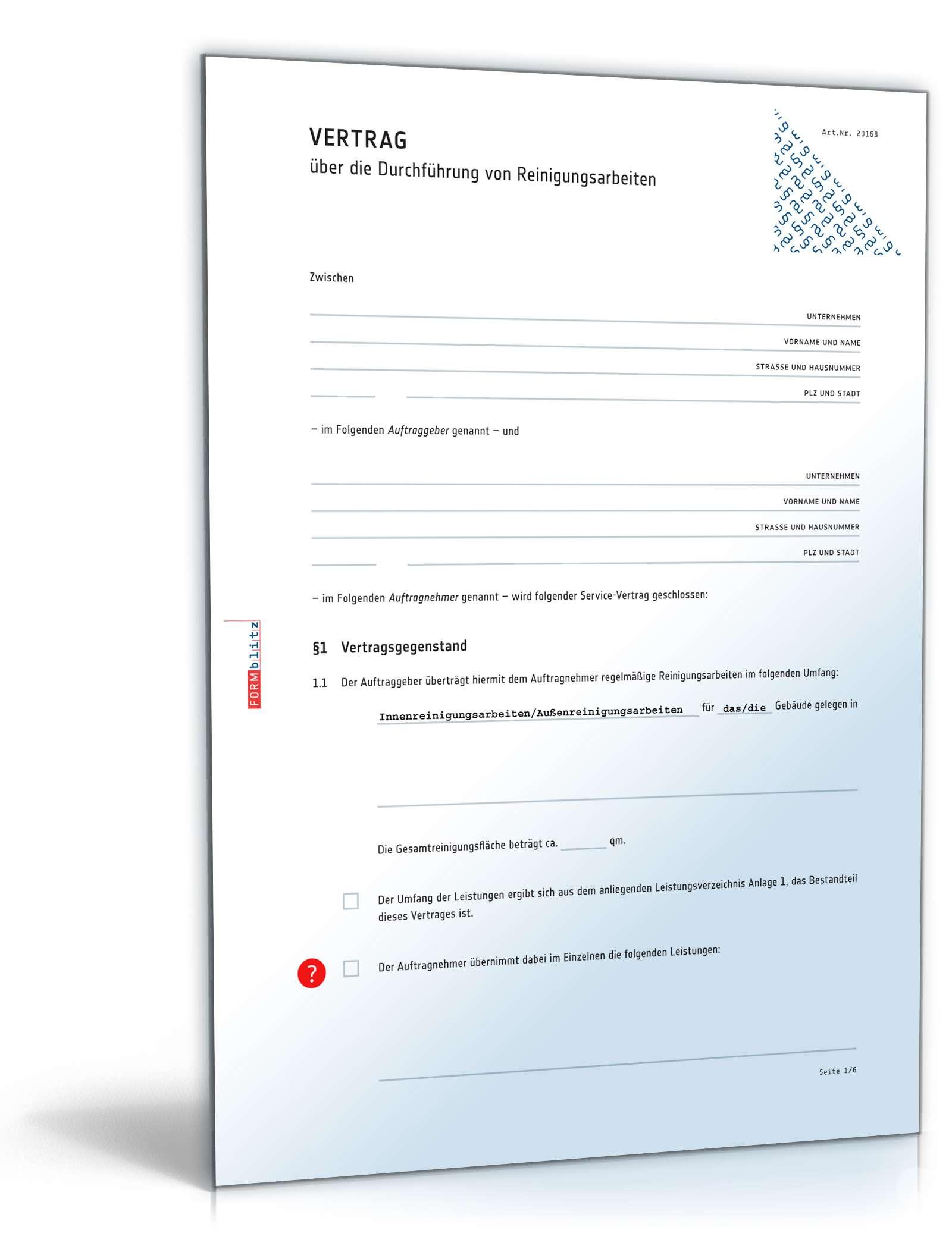 Reinigungsvertrag Rechtssicheres Muster Zum Download