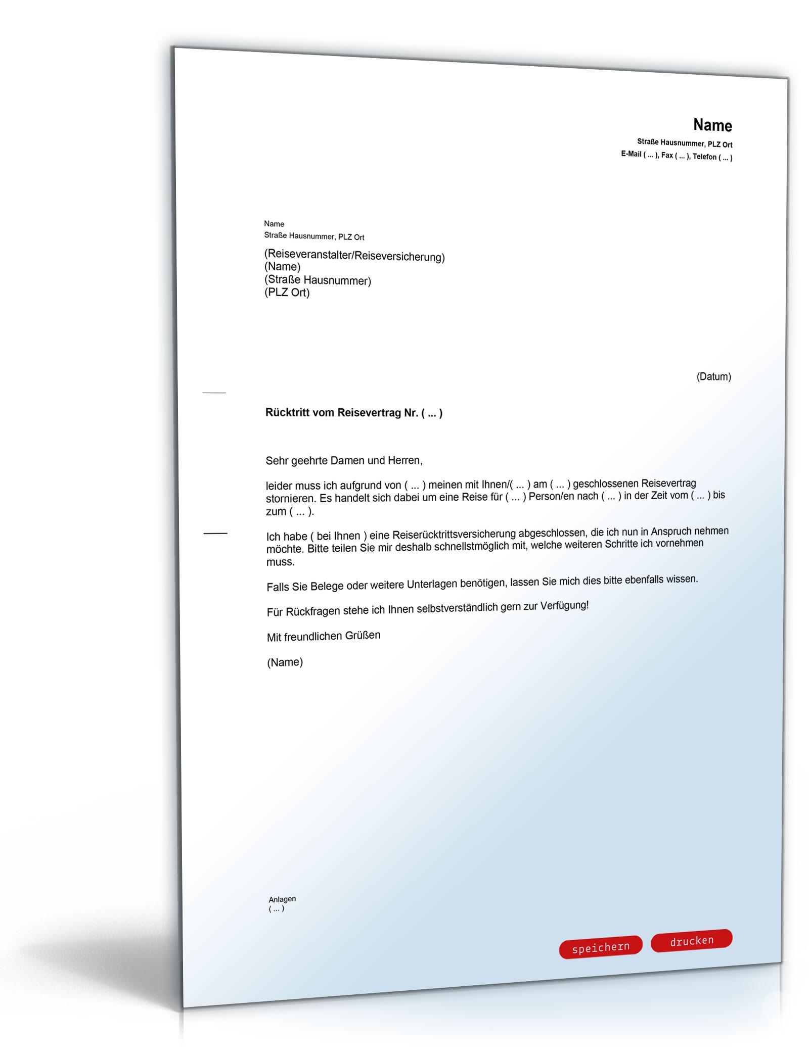 Reiserucktrittserklarung Mit Versicherung Als Vorlage Zum Download