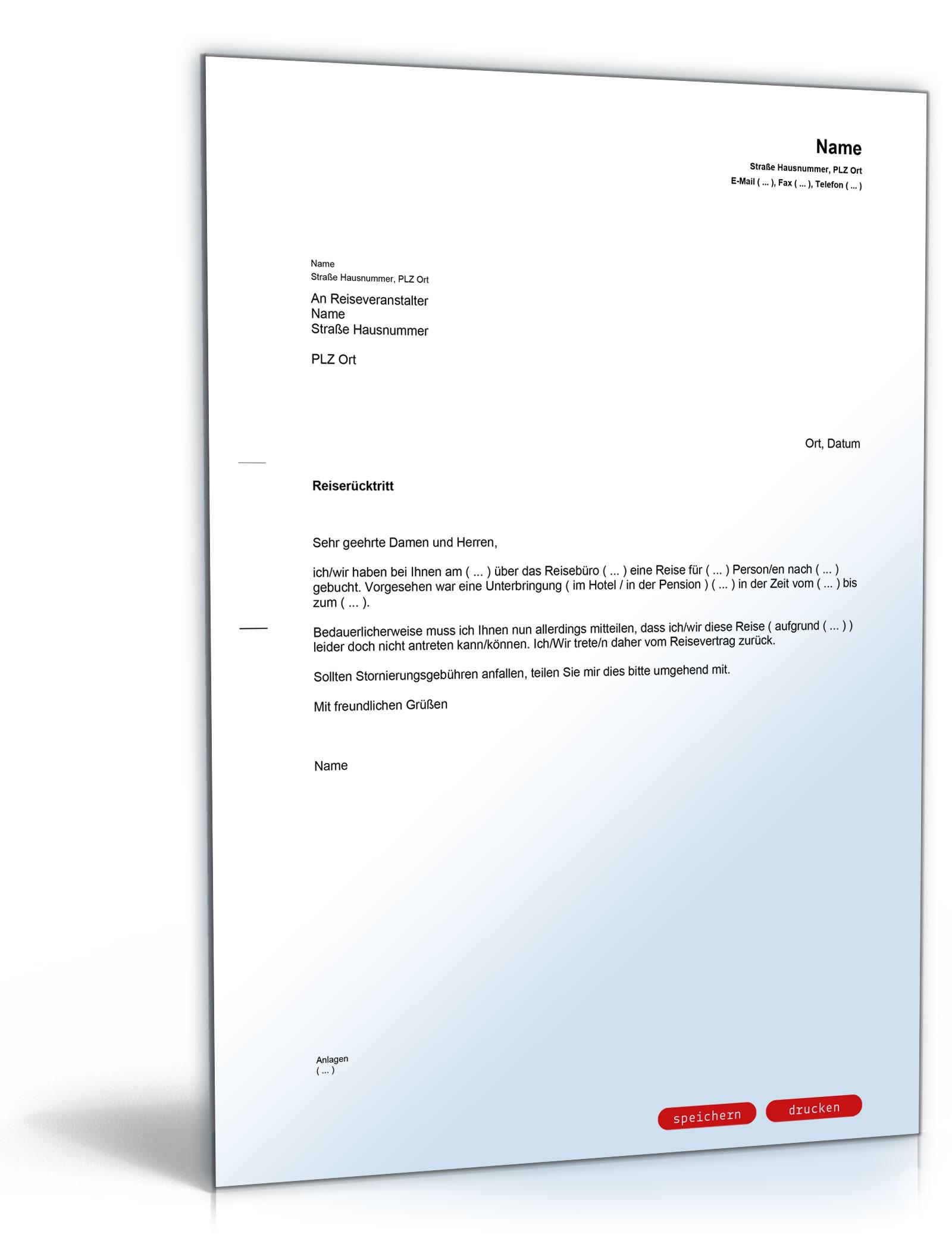 Muster Reiserucktrittserklarung Ohne Versicherung Zum Download