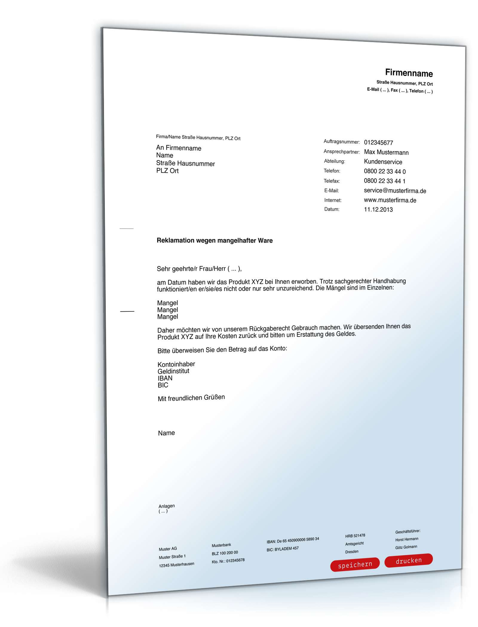Reklamation Defekter Ware Rechtssicherer Musterbrief Zum Download