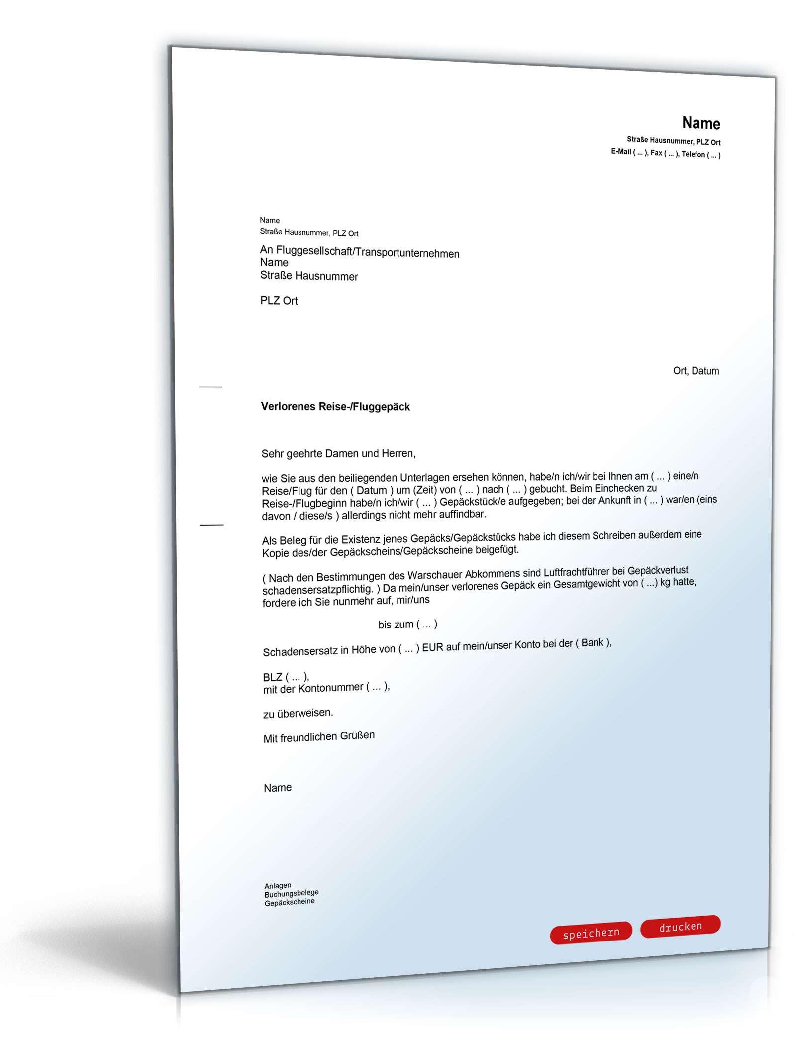 Reklamation Verlust Reisegepäck Vorlage Zum Download