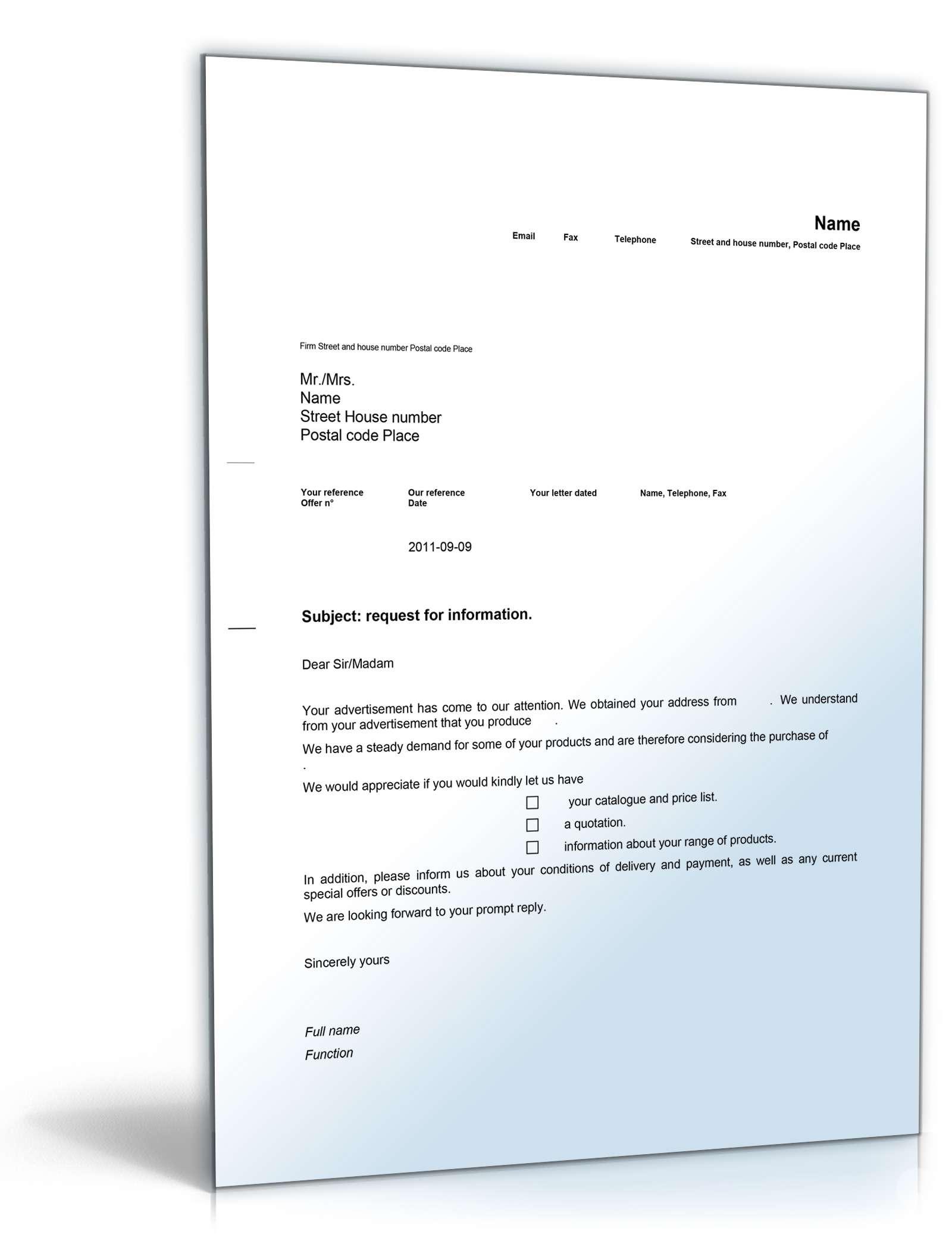 Anfrage Nach Weiteren Informationen Auf Englisch Musterbrief