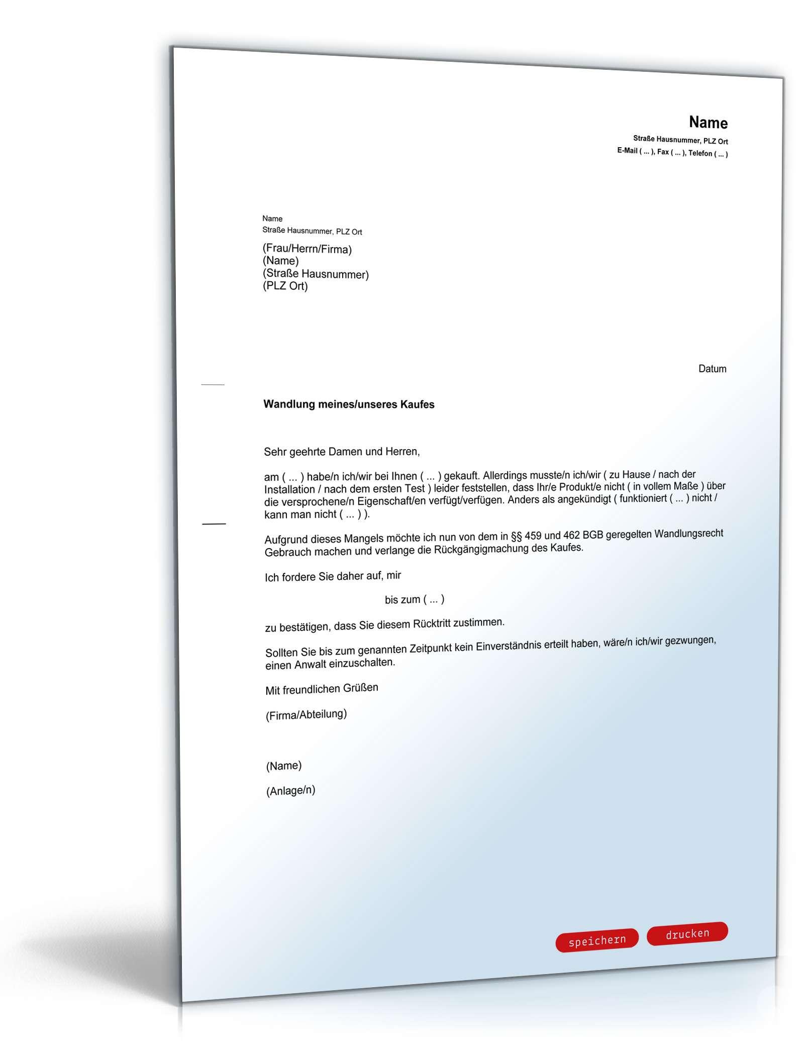 Rücktritt vom Kaufvertrag bei Falschauskunft   Muster zum