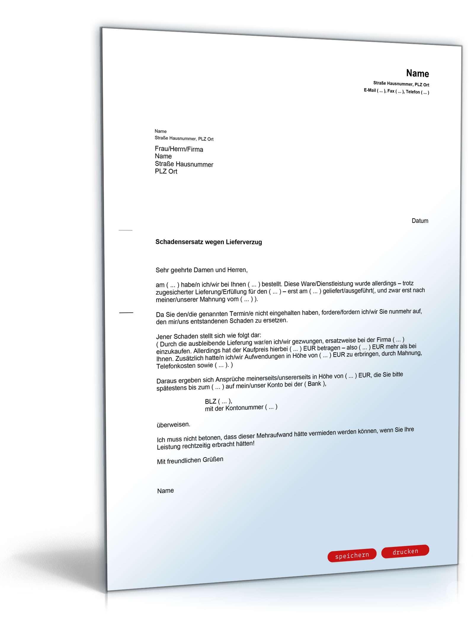 Schadensersatz Wegen Verspäteter Lieferung Vorlage Zum Download