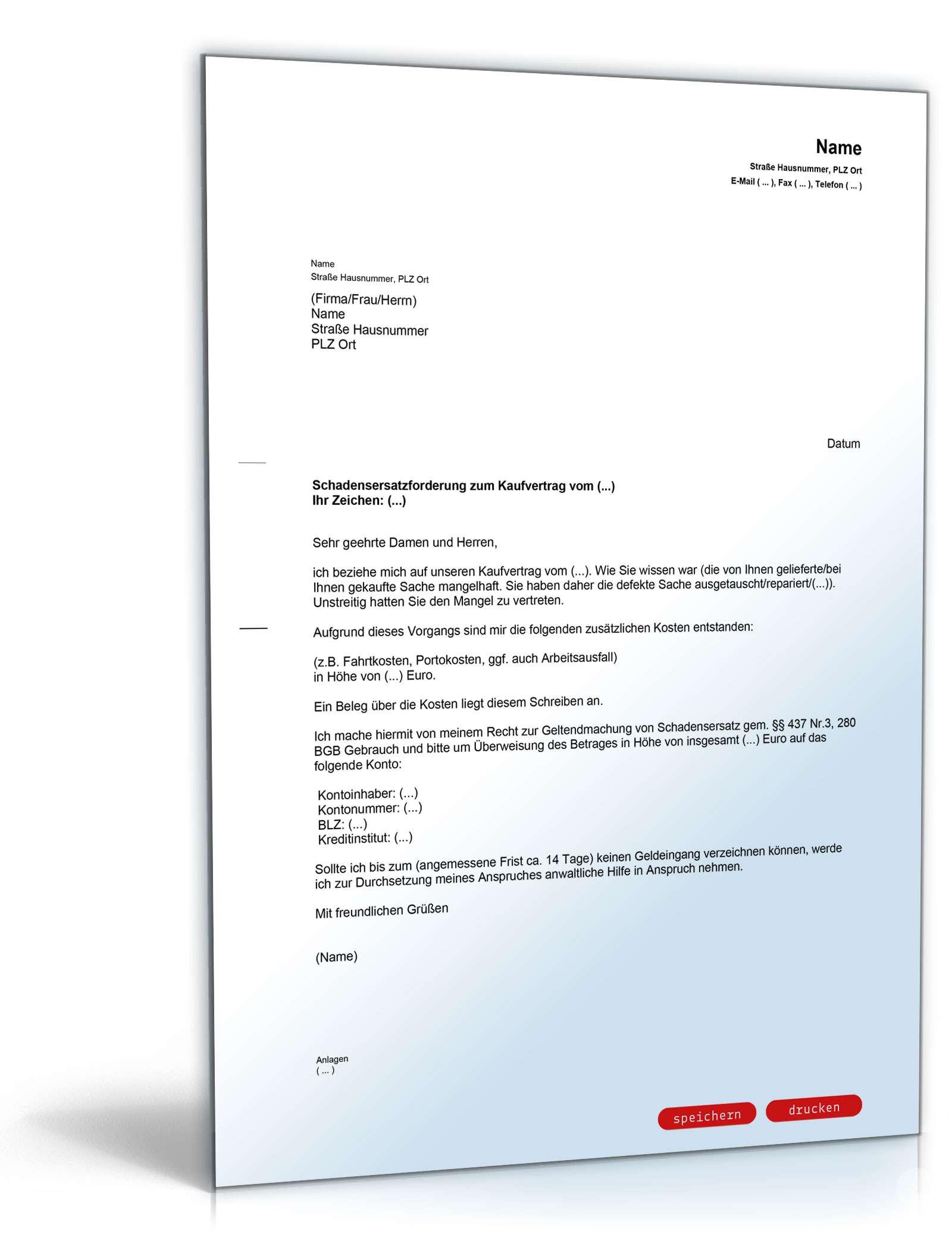 schadensersatz nach umtausch musterbrief zum download - Rucktritt Vom Kaufvertrag Muster