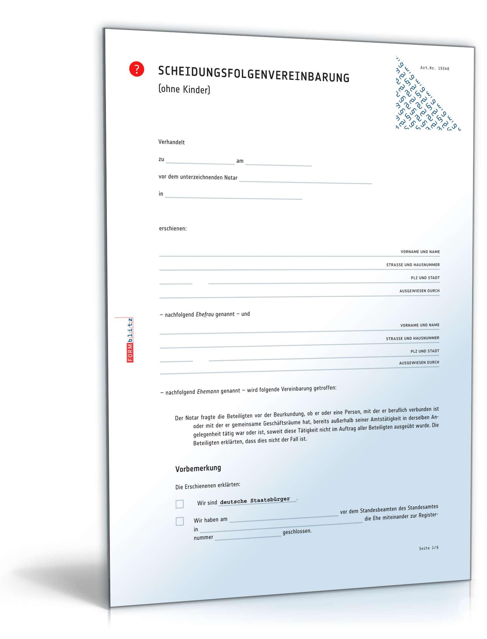 muster scheidungsfolgenvereinbarung eheleute ohne kinder - Trennungsvereinbarung Muster Kostenlos