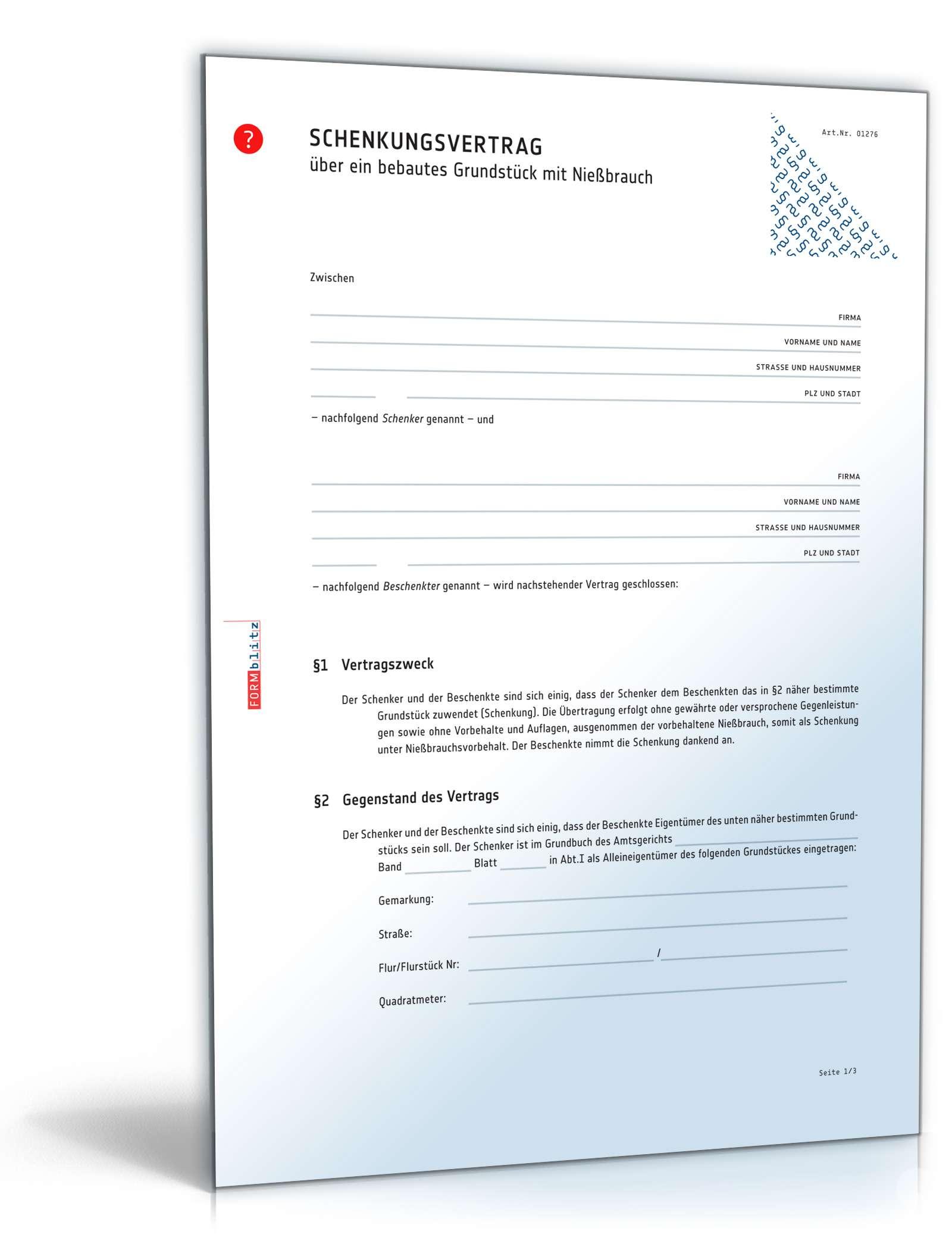 Schenkungsvertrag Grundstück Mit Nießbrauch Muster Zum Download