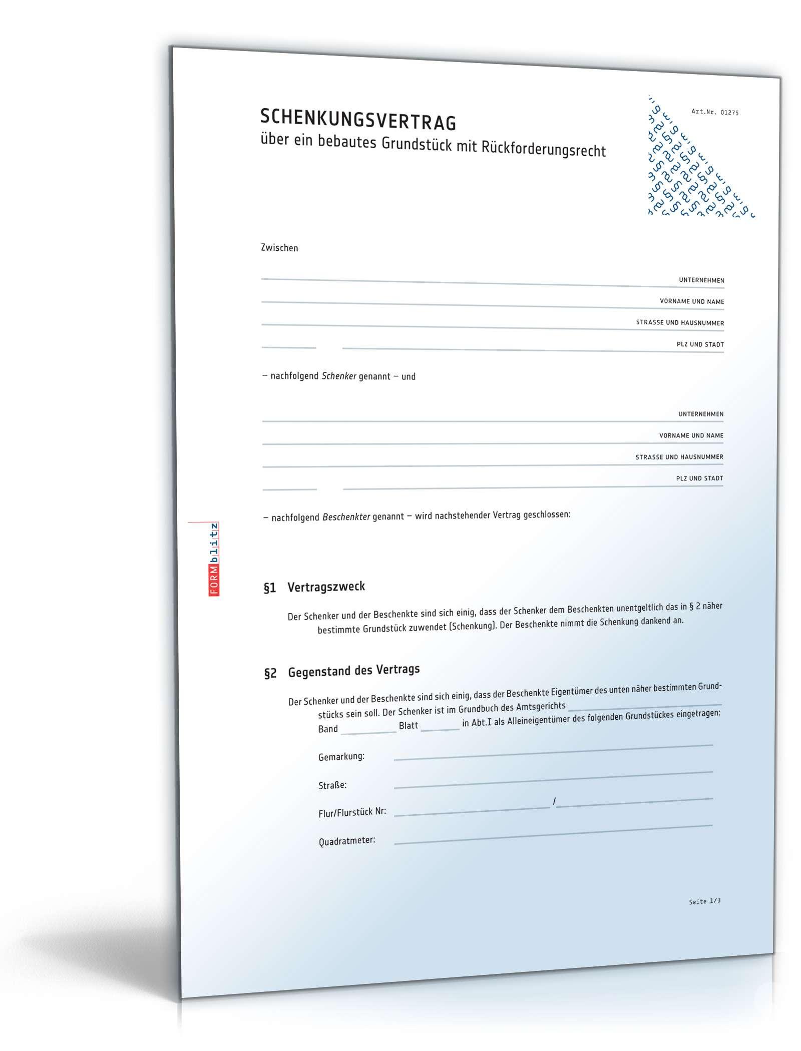 Schenkungsvertrag Haus Rechtssicheres Muster Zum Download