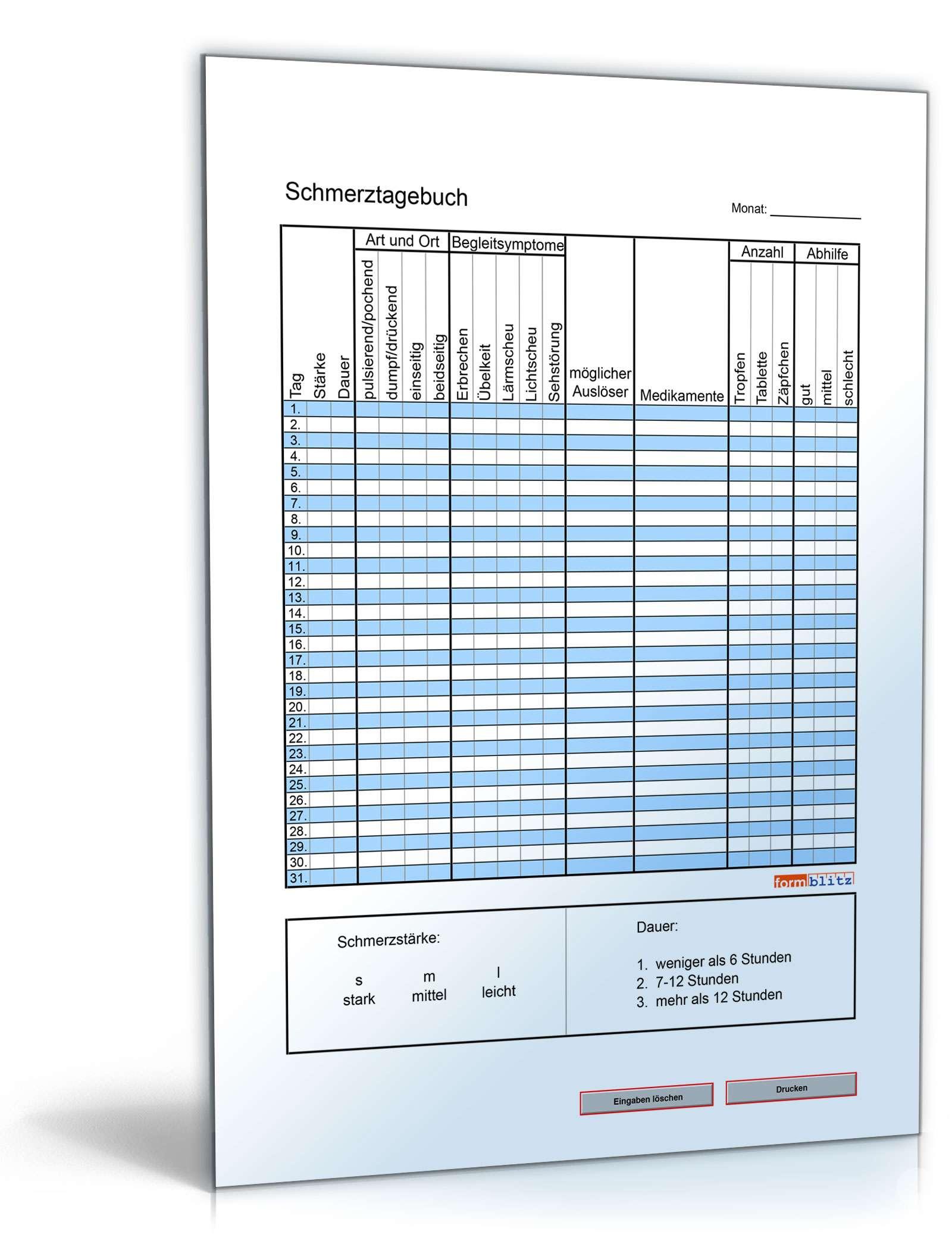 Schmerztagebuch Monat Tabelle Zum Kostenlosen Download