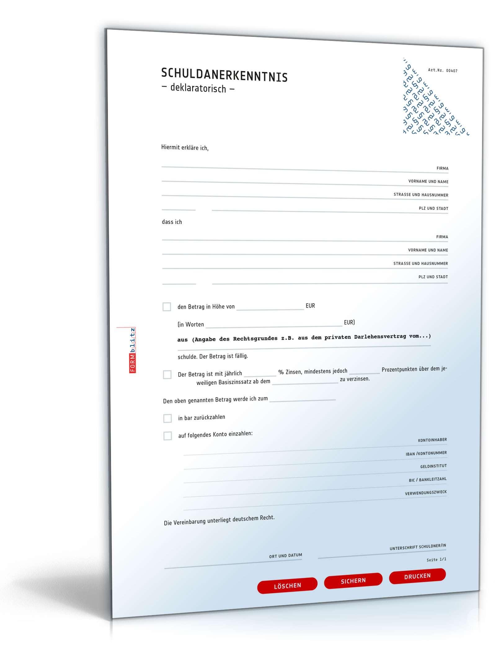 Schuldanerkenntnis Deklaratorisch Vorlage Zum Download