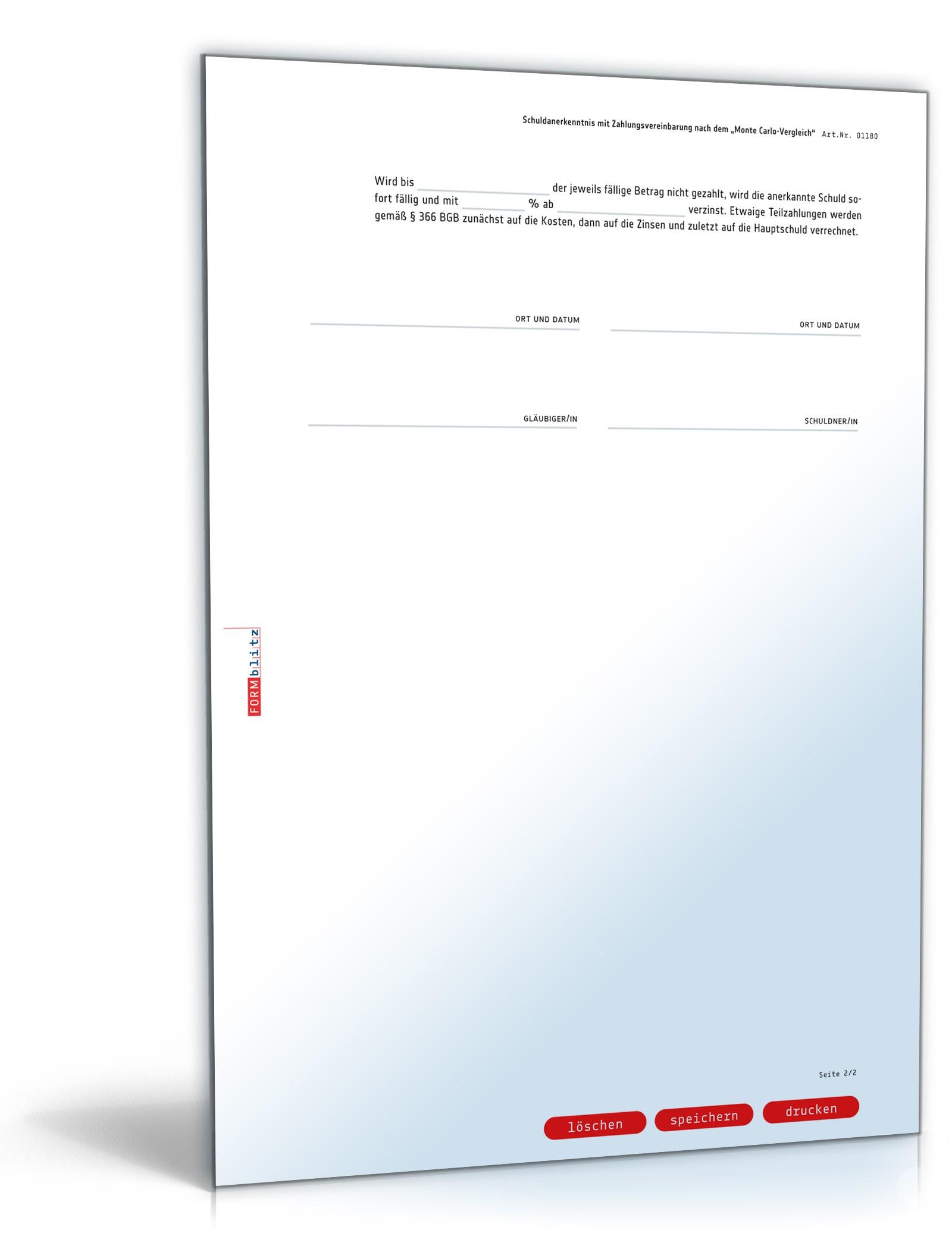 Schuldanerkenntnis mit Zahlungsvereinbarung | Muster zum Download