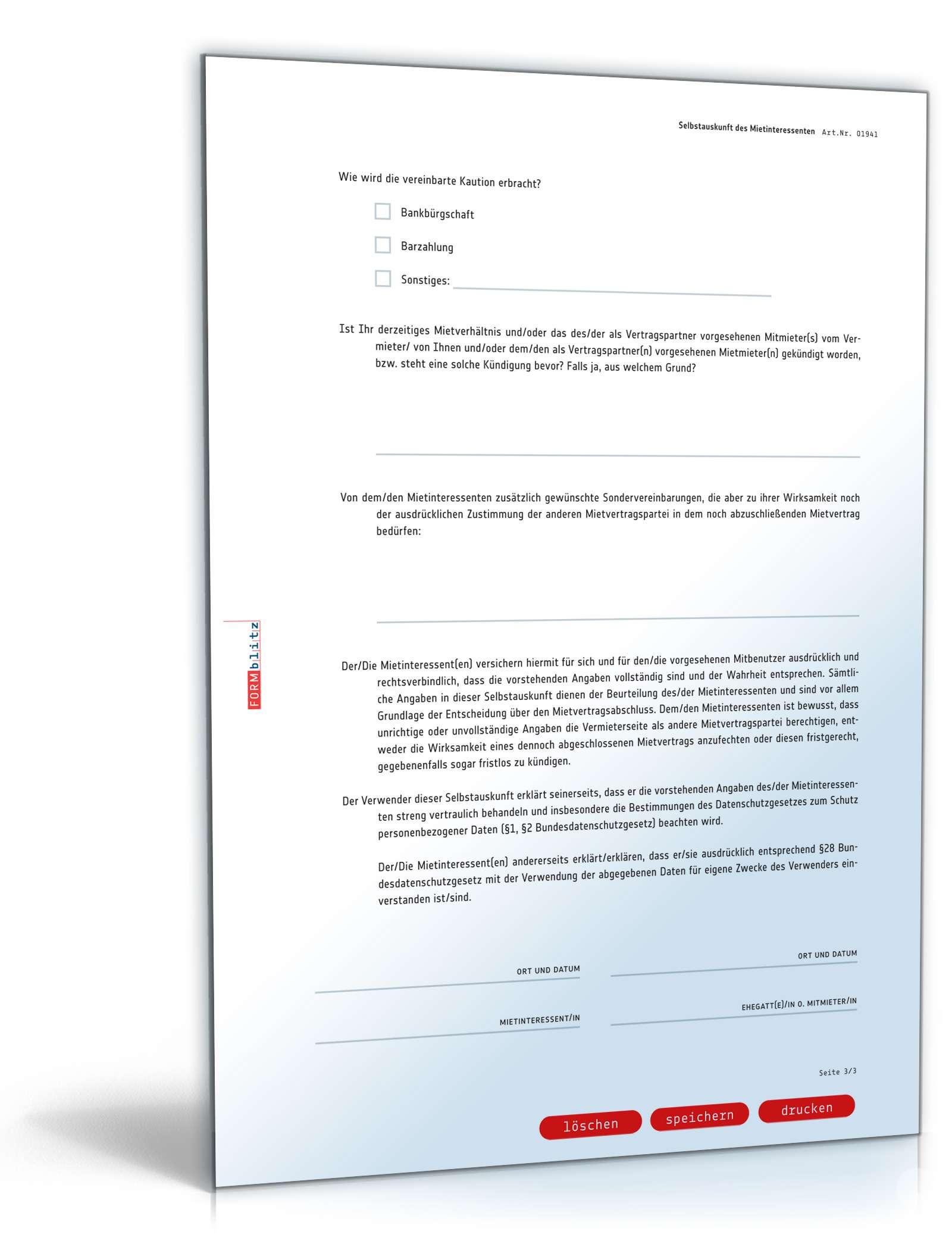 Selbstauskunft Mieter Anwaltsgeprüftes Muster Zum Download