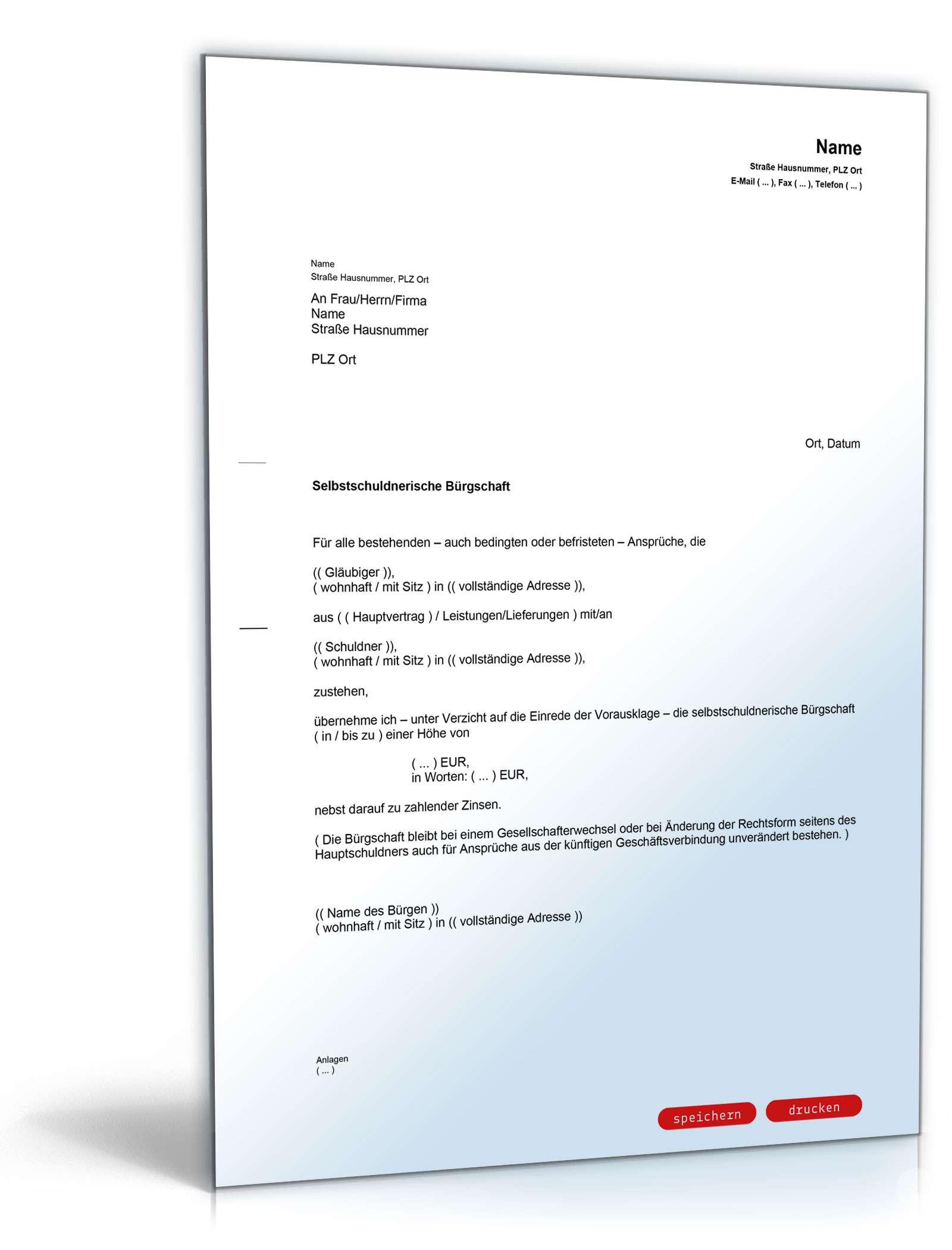 Selbstschuldnerische Bürgschaft Als Brief Muster Vorlage Zum Download
