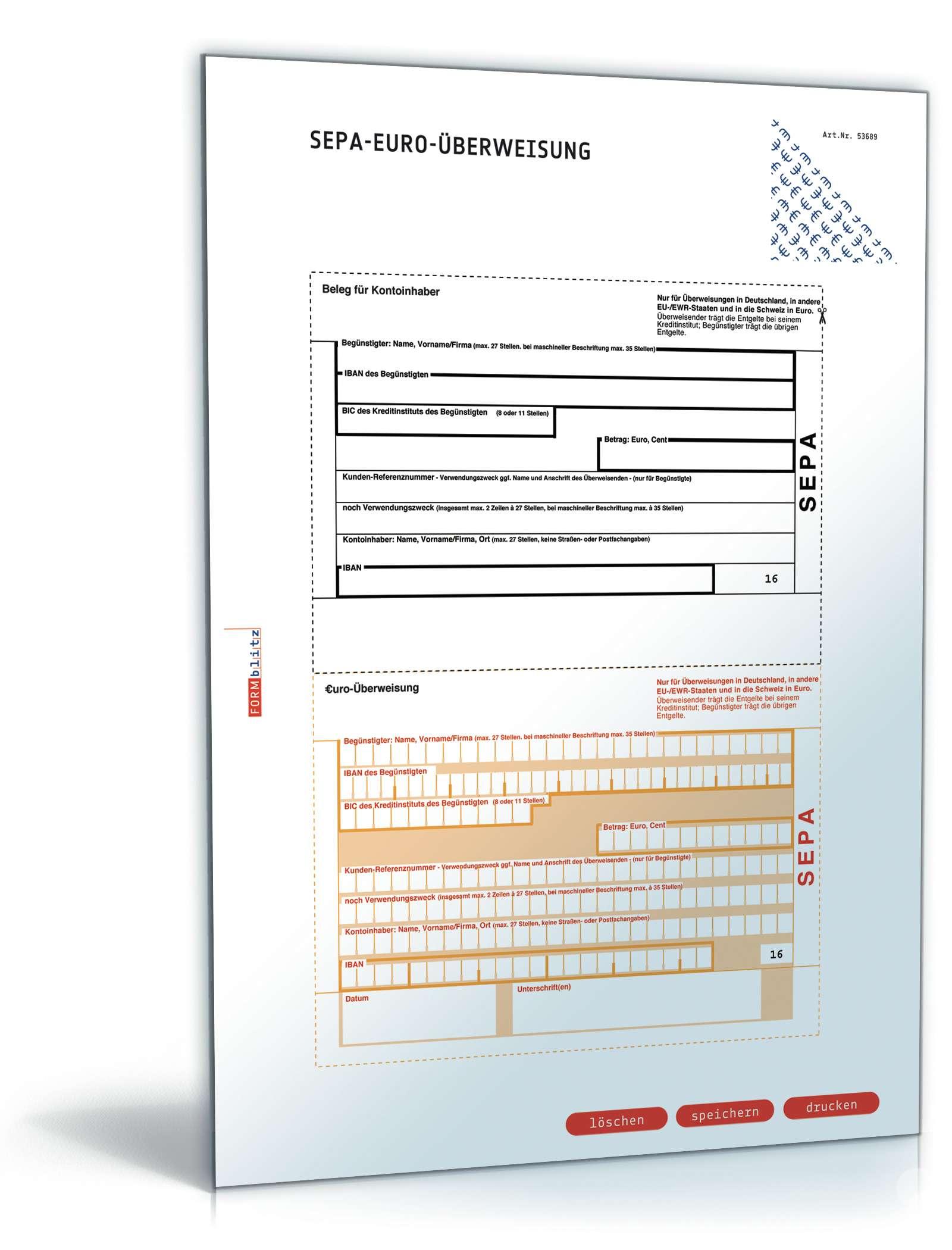 SEPA-Überweisung | Überweisungsformular zum Download
