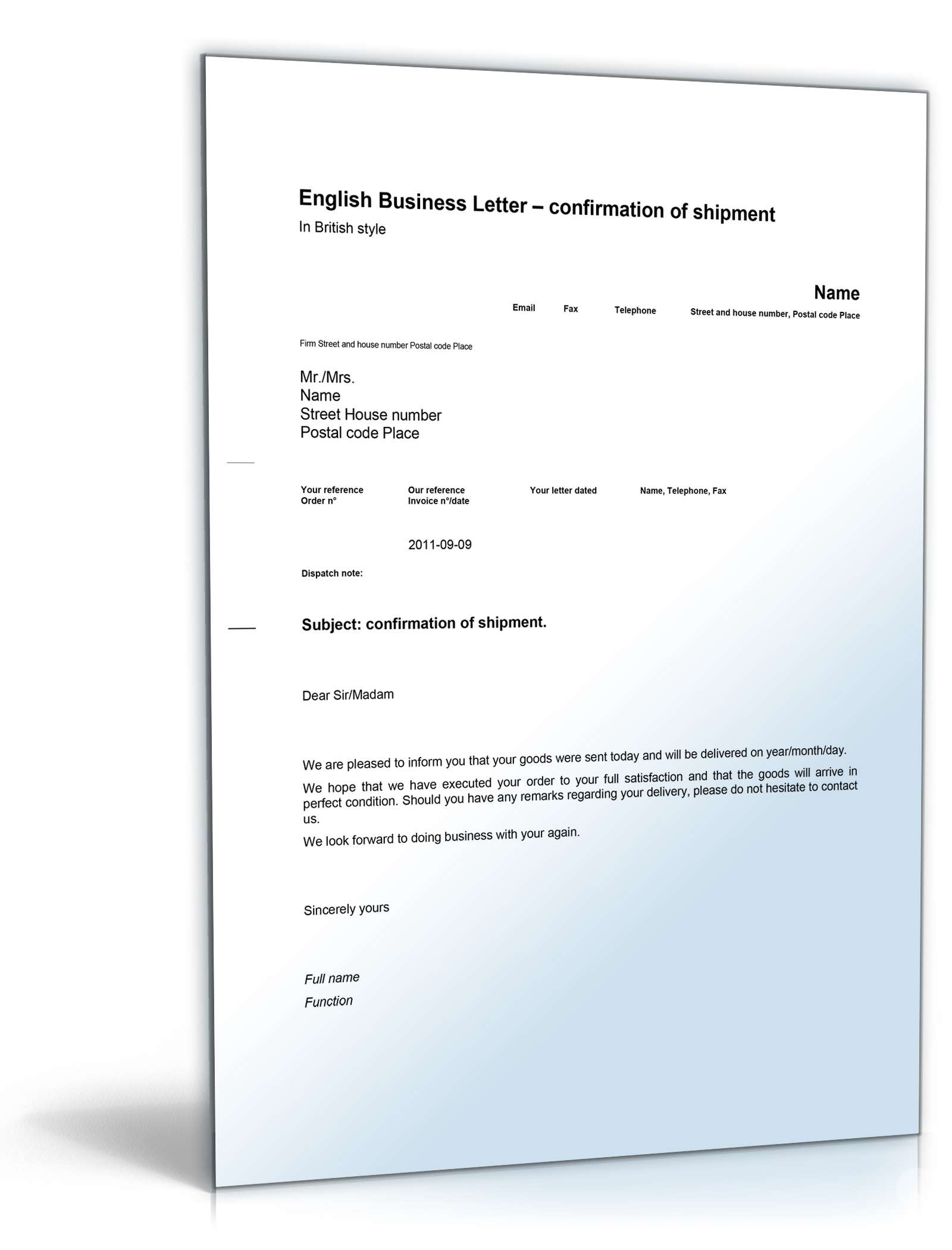 Versandbestätigung Shipment Confirmation Geschäftsbrief Sofort